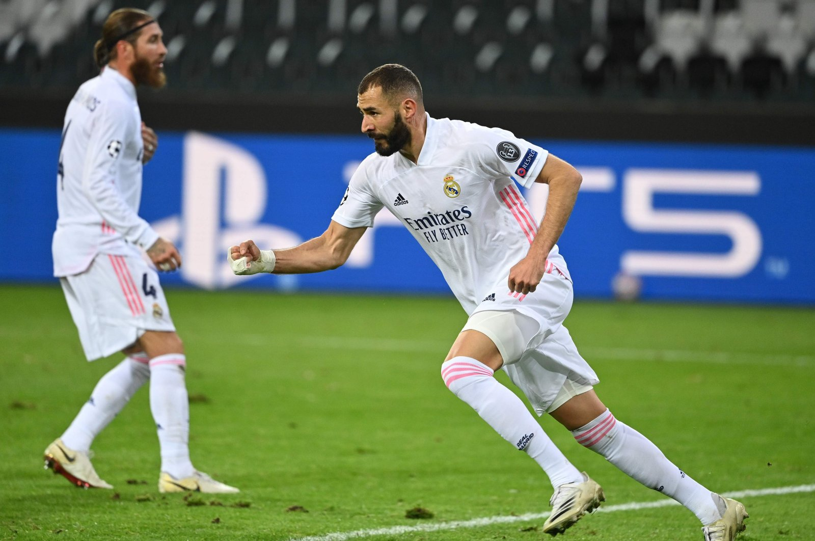 Real Madrid's Karim Benzema celebrates scoring a goal against Borussia Monchengladbach during a UEFA Champions League match, in Monchengladbach, Germany, Oct. 27, 2020. (AFP Photo)