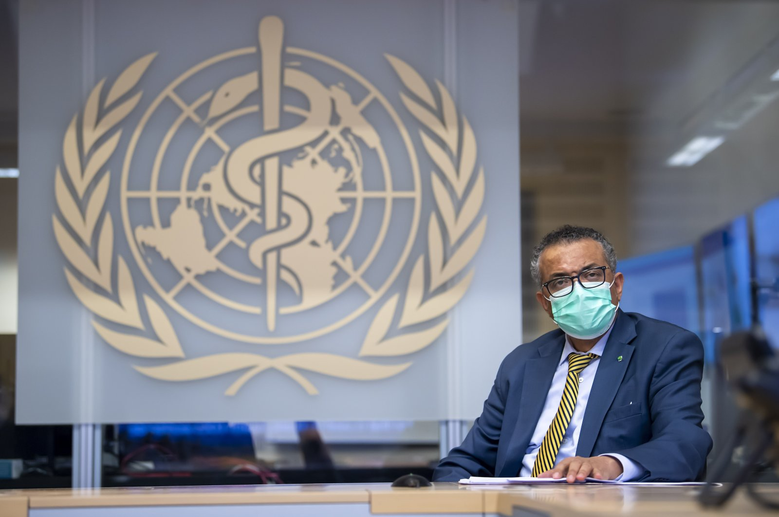 Tedros Adhanom Ghebreyesus, director-general of the World Health Organization (WHO), speaks during a visit of the Presidents of the Swiss Federal Chambers, at WHO headquarters in Geneva, Switzerland, Oct. 15, 2020. (EPA Photo)