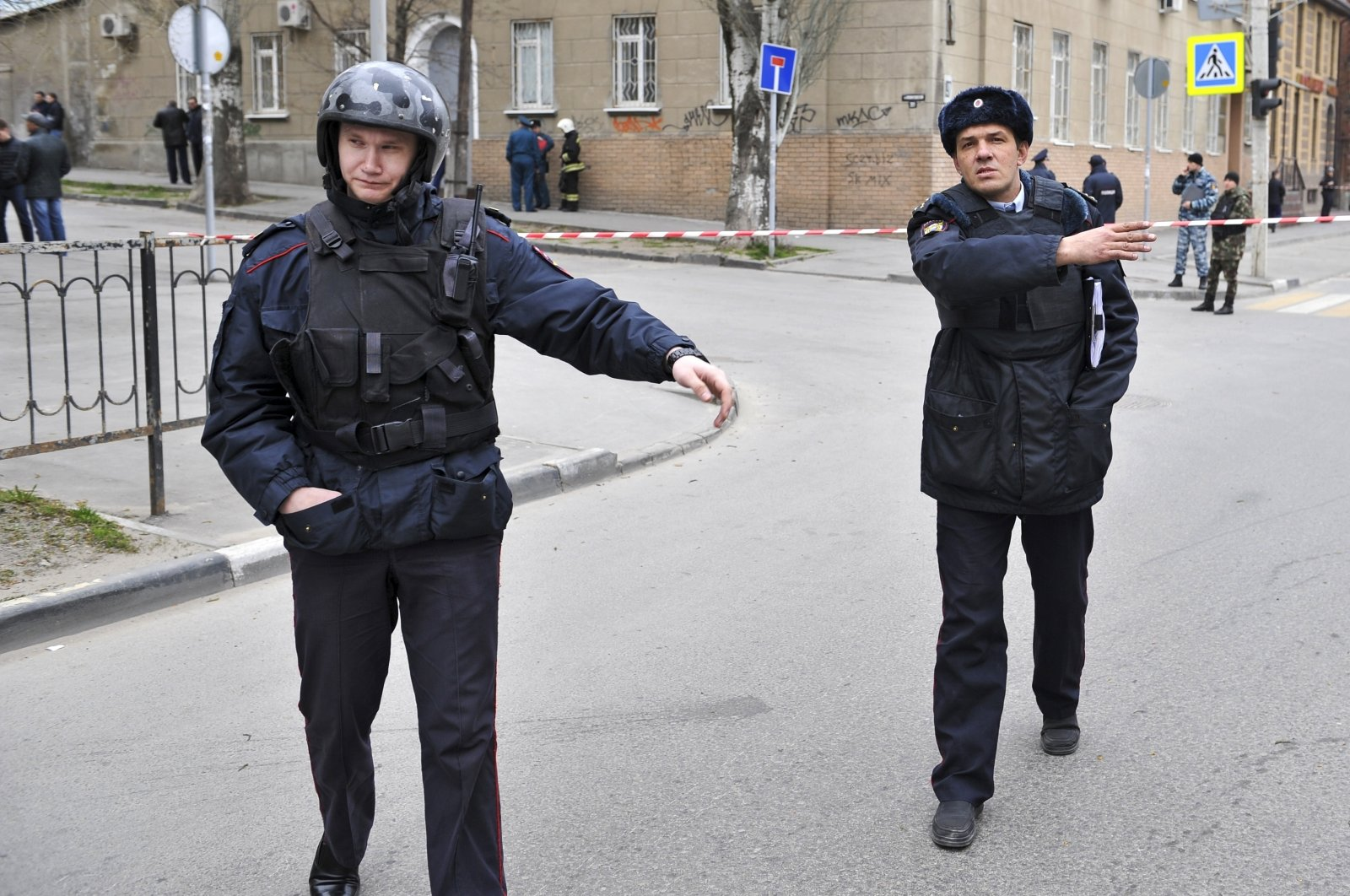 In this file photo, police officers cordon off a street after an explosion occurred in the southern Russian city of Rostov-on-Don, April 6, 2017. (AP File Photo)