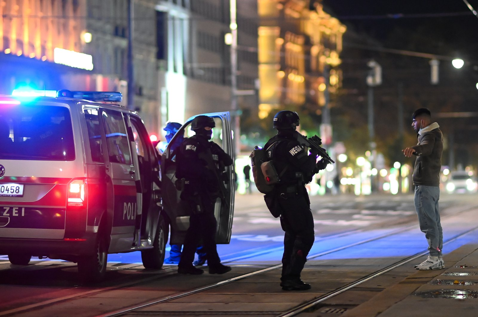 Austrian police special forces search a civilian infront of The Wiener Staatsoper (Vienna State Opera) after a shooting near the Stadttempel' synagogue in Vienna, Austria, 02 November 2020. (EPA Photo)