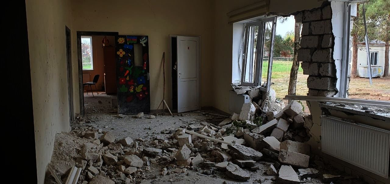 An Azerbaijani school after an Armenian attack, Aghdam, Nov. 3, 2020. (Taken from Leyla Abdullayeva's Twitter feed.)