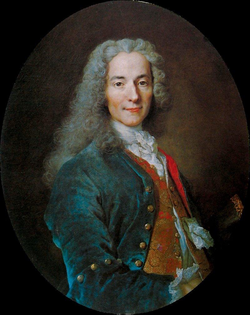 A portrait of Voltaire by French painter Nicolas de Largilliere.