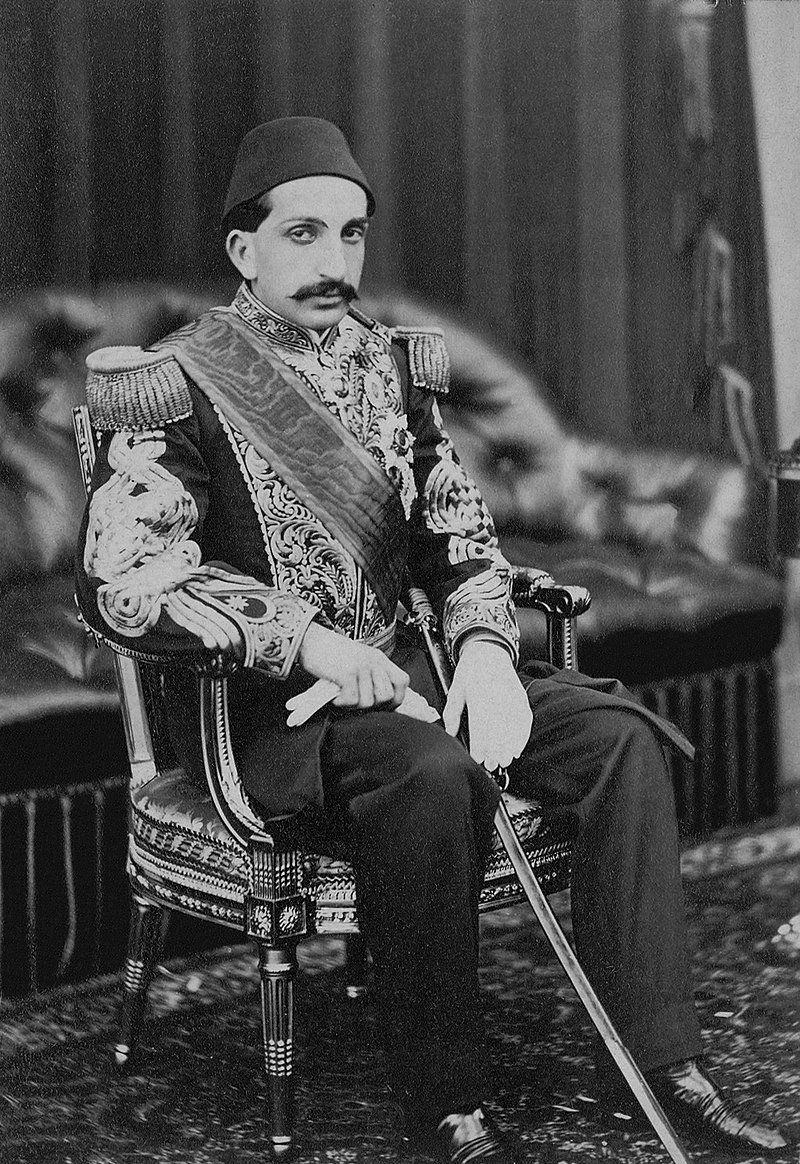 Official portrait of Sultan Abdülhamid II at Balmoral Castle in Scotland in 1867.