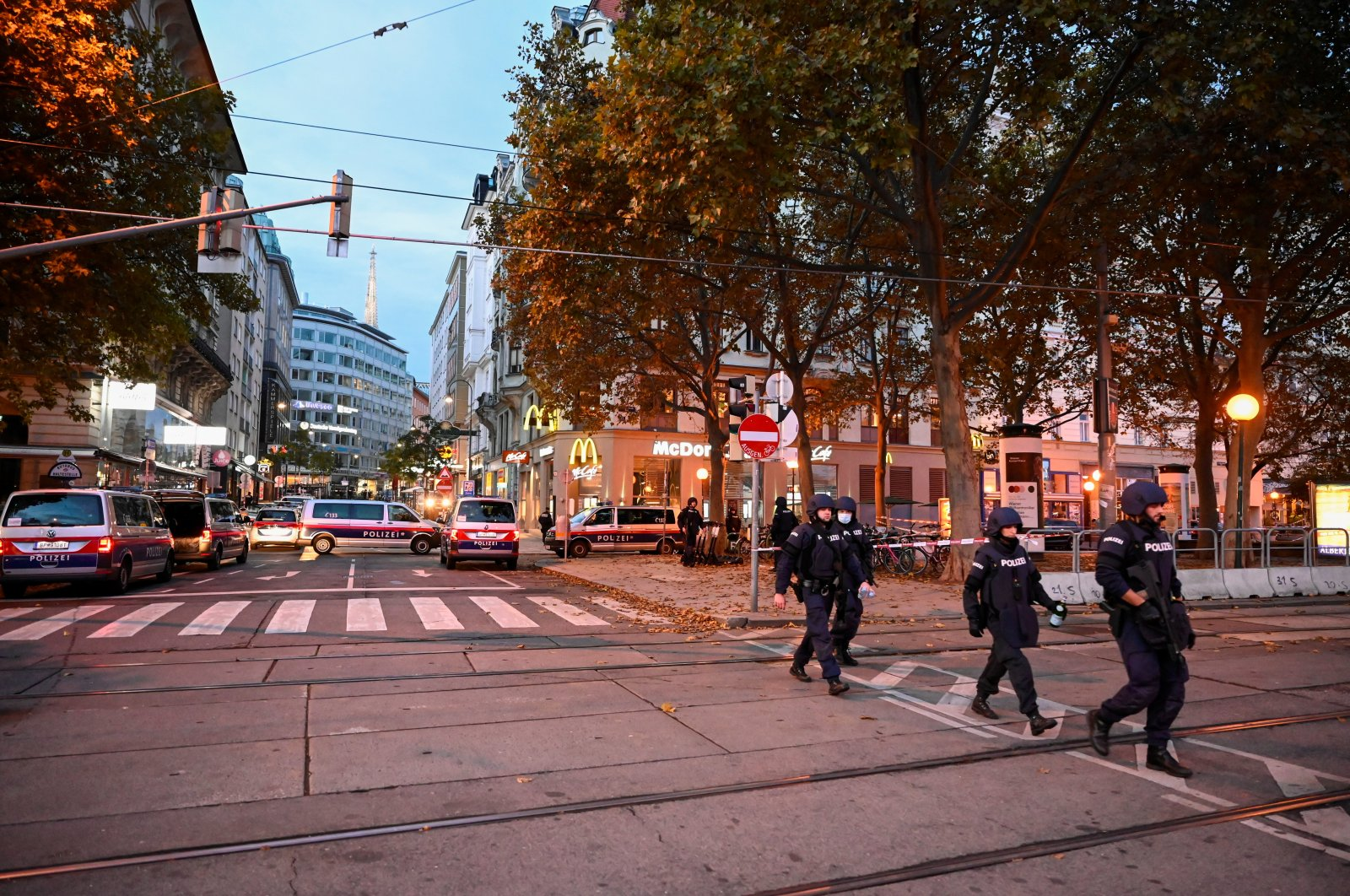 Police vehicles block off a street following a terrorist attack in Vienna, Austria, Nov. 3, 2020. (Reuters Photo)