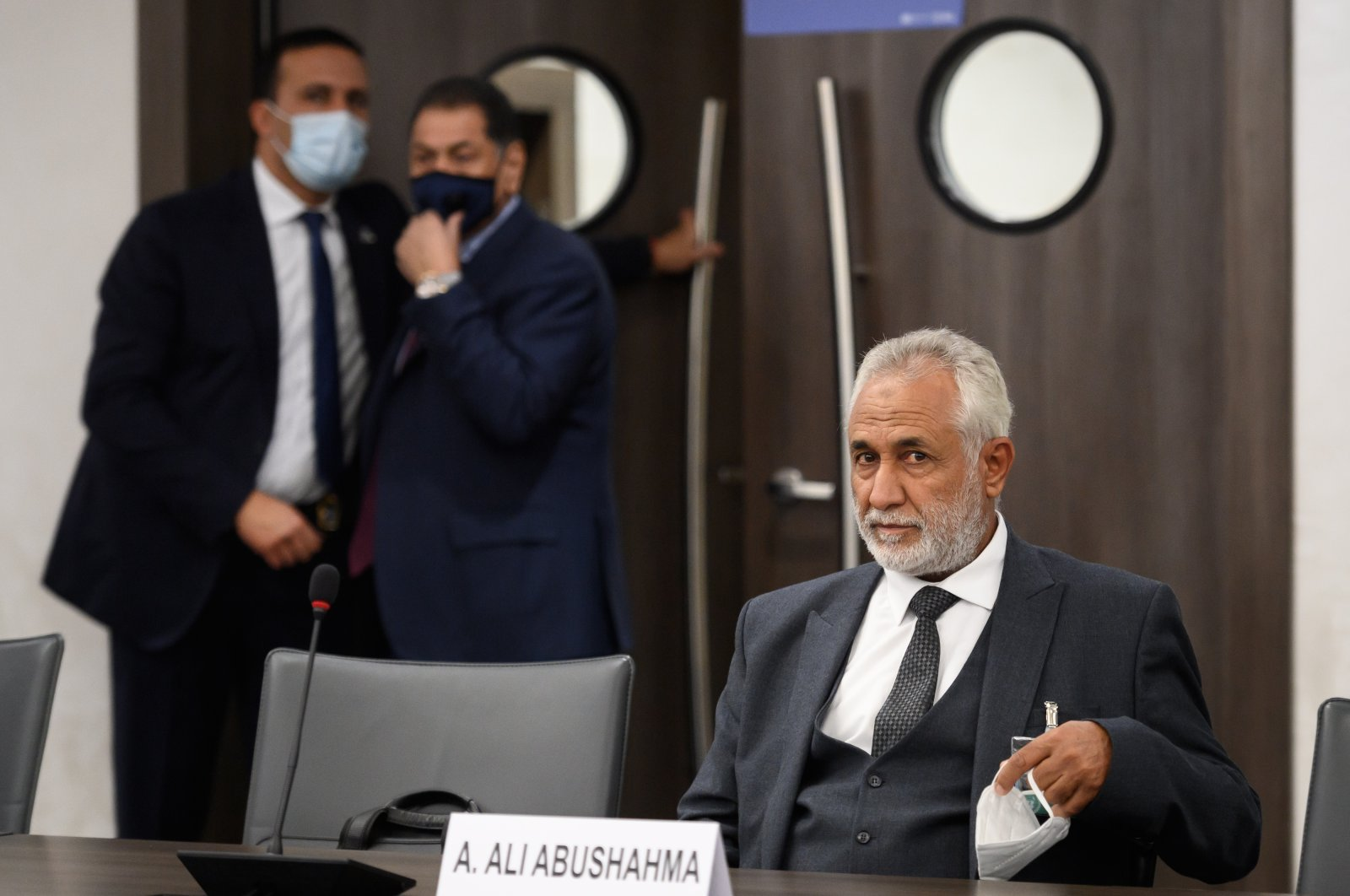 The head of the Government of National Accord (GNA) military delegation, Ahmed Ali Abushahma, attends talks between the rival factions in the Libya conflict, in Geneva, Switzerland, Oct. 20, 2020. (AP Photo)