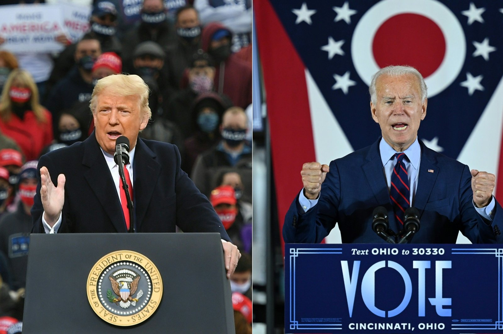 U.S. President Donald Trump (L) speaks during a campaign rally at Manchester-Boston Regional Airport in Londonderry, New Hampshire, Oct. 25, 2020, and  Democratic presidential candidate and former Vice President Joe Biden delivers remarks at a voter mobilization event in Cincinnati, Ohio, Oct. 12, 2020. (AFP Photo)
