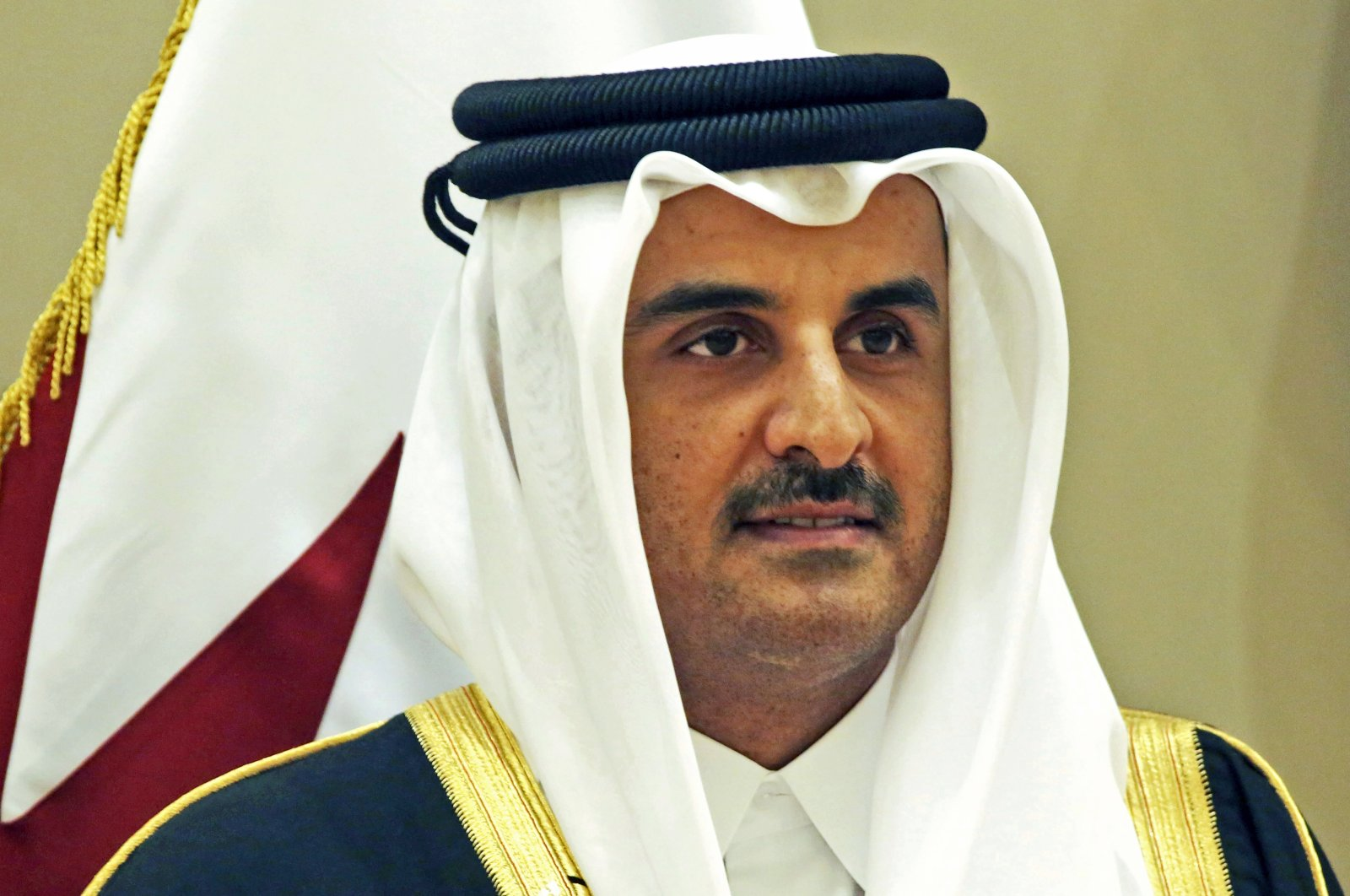 Qatar's emir, Sheikh Tamim bin Hamad Al Thani, poses for a group photo at the Gulf Cooperation Council summit in Kuwait, Dec. 5, 2017. (AP Photo)