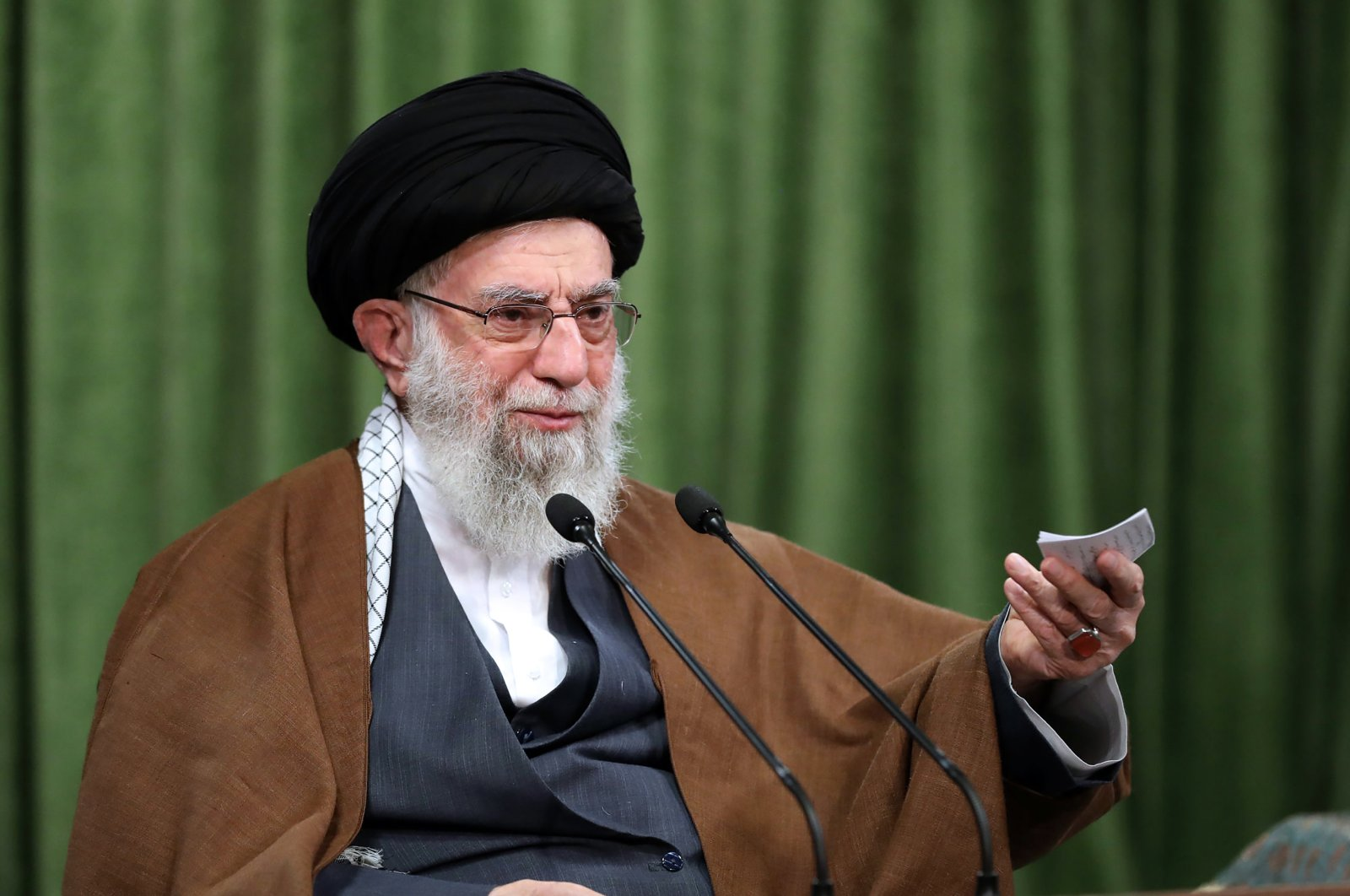 In this picture released by an official website of the office of the Iranian supreme leader, Supreme Leader Ayatollah Ali Khamenei addresses the nation in a televised speech marking the birthday of Islam's Prophet Muhammad, in Tehran, Iran, Nov. 3, 2020. (Office of the Iranian Supreme Leader via AP)