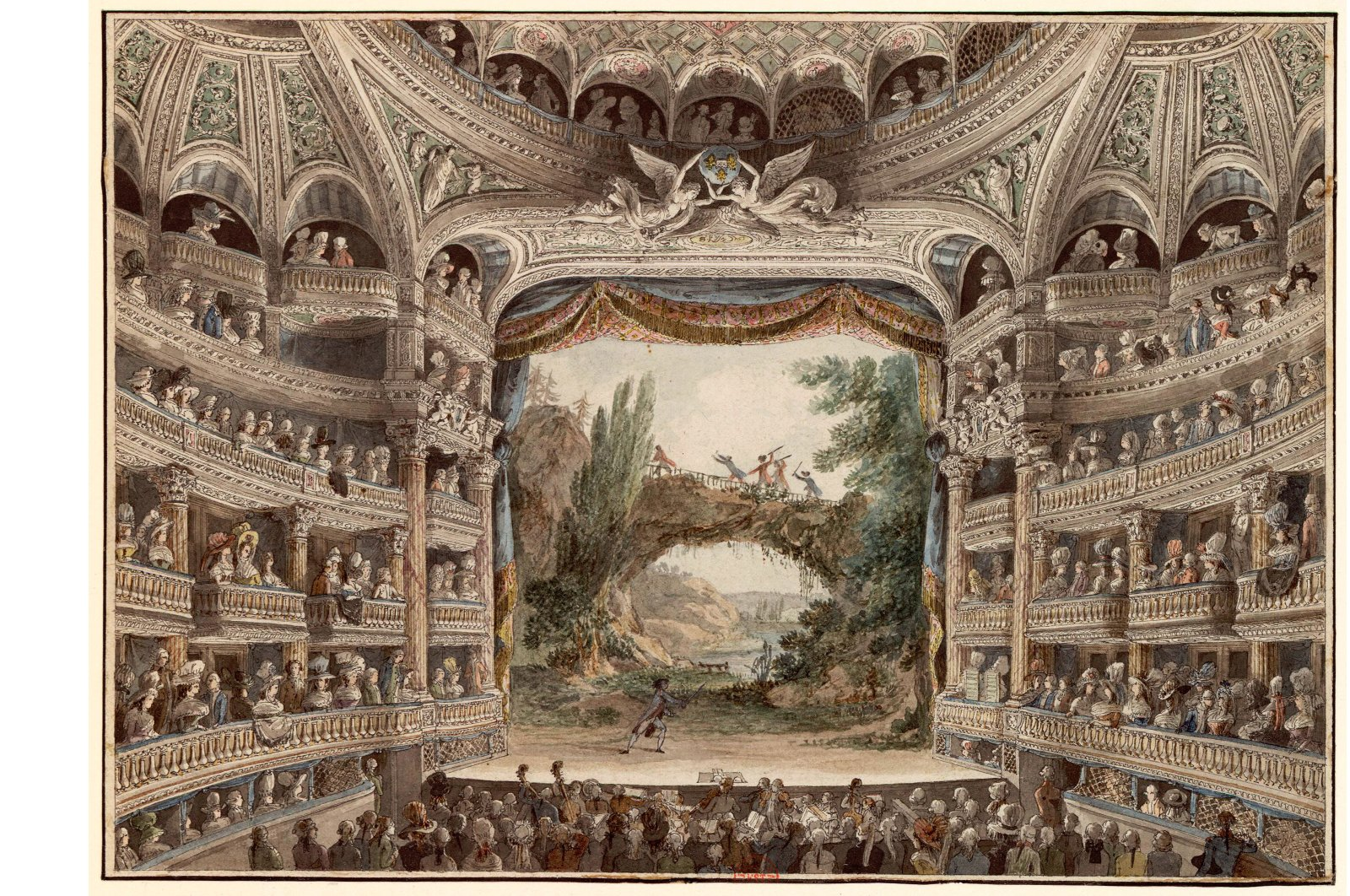 French architect and drawer Antoine Meunier's watercolor painting showing the interior of the Comedie-Française Theatre in Paris.