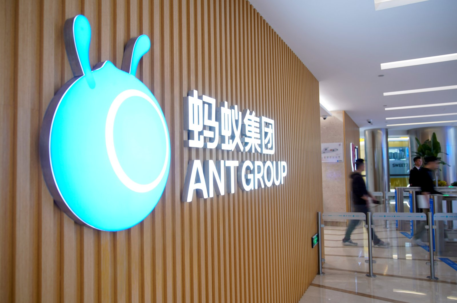 A logo of Ant Group is pictured at the headquarters of the company in Hangzhou, Zhejiang province, China, Oct. 29, 2020. (Reuters Photo)