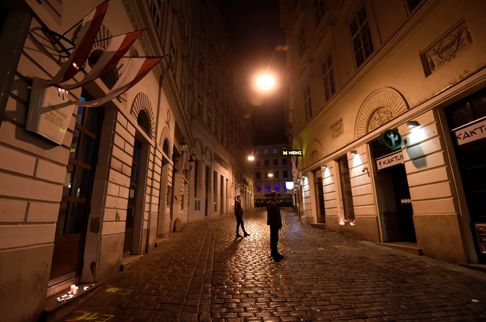 People gather near the site of a gun attack in Vienna, Austria, Nov. 3, 2020. (REUTERS Photo)
