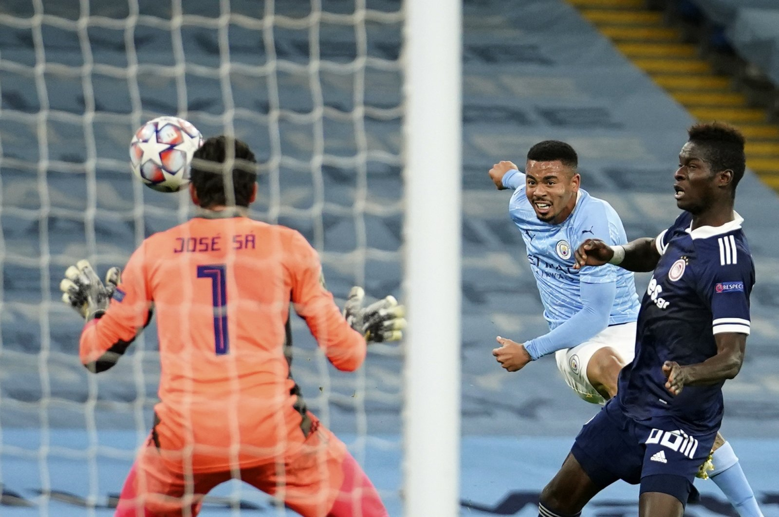 Manchester City's Gabriel Jesus (C) scores a goal during the Champions League match against Olympiacos, in Manchester, England, Nov. 3, 2020. (AP Photo)