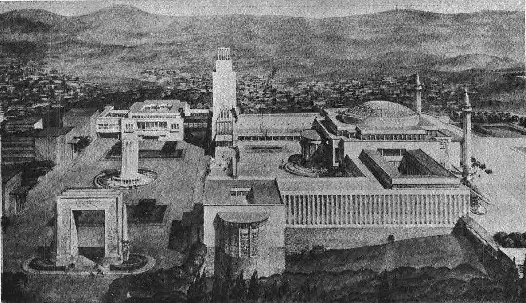 Hungarian architect Jozsef Vago's project for the competition on the building design of Turkish Grand National Assembly (TBMM) in 1937.