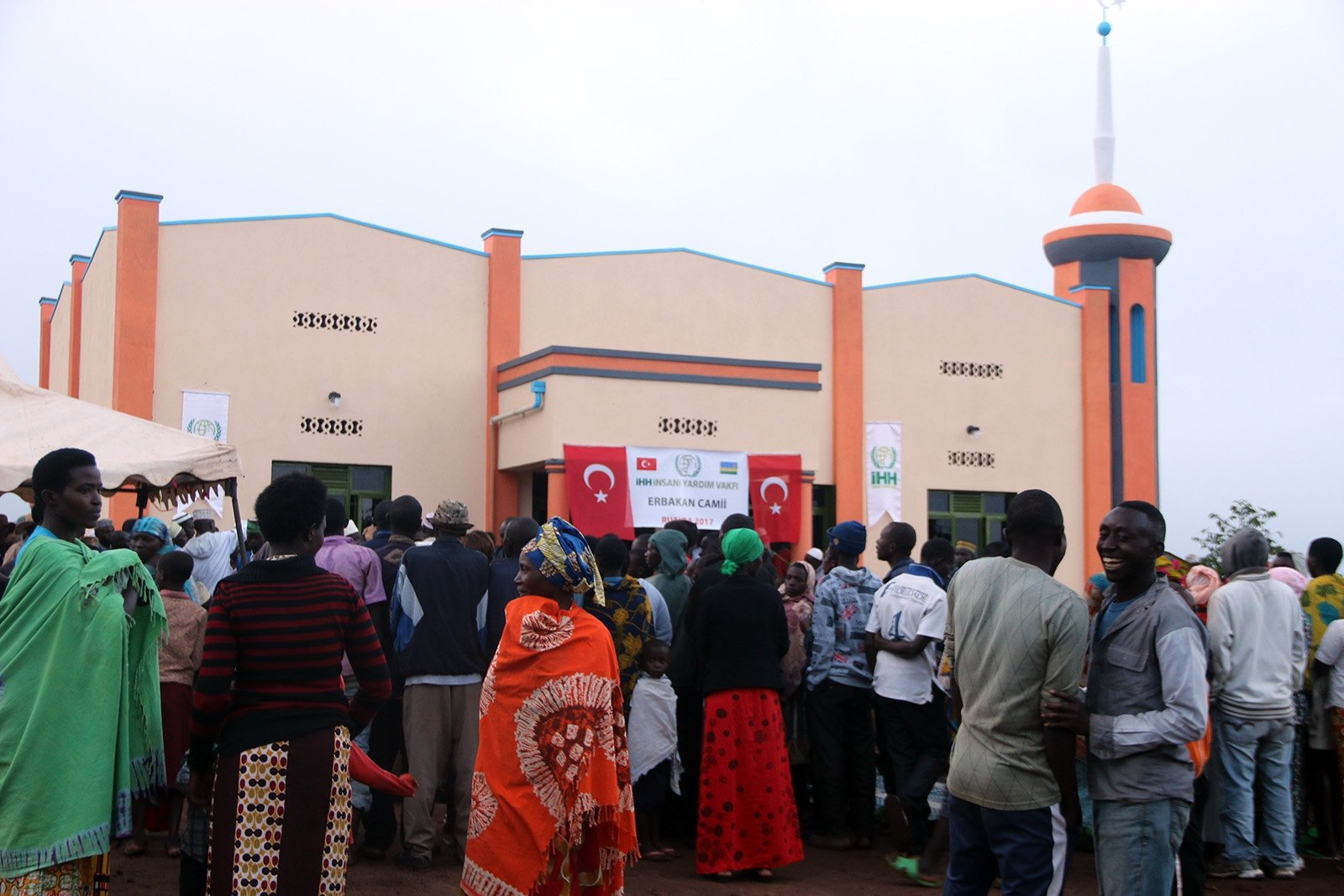 People are seen at an opening of mosque built by Turkey's Humanitarian Relief Foundation (İHH) in Rwanda, April 12, 2017. (AA Photo)