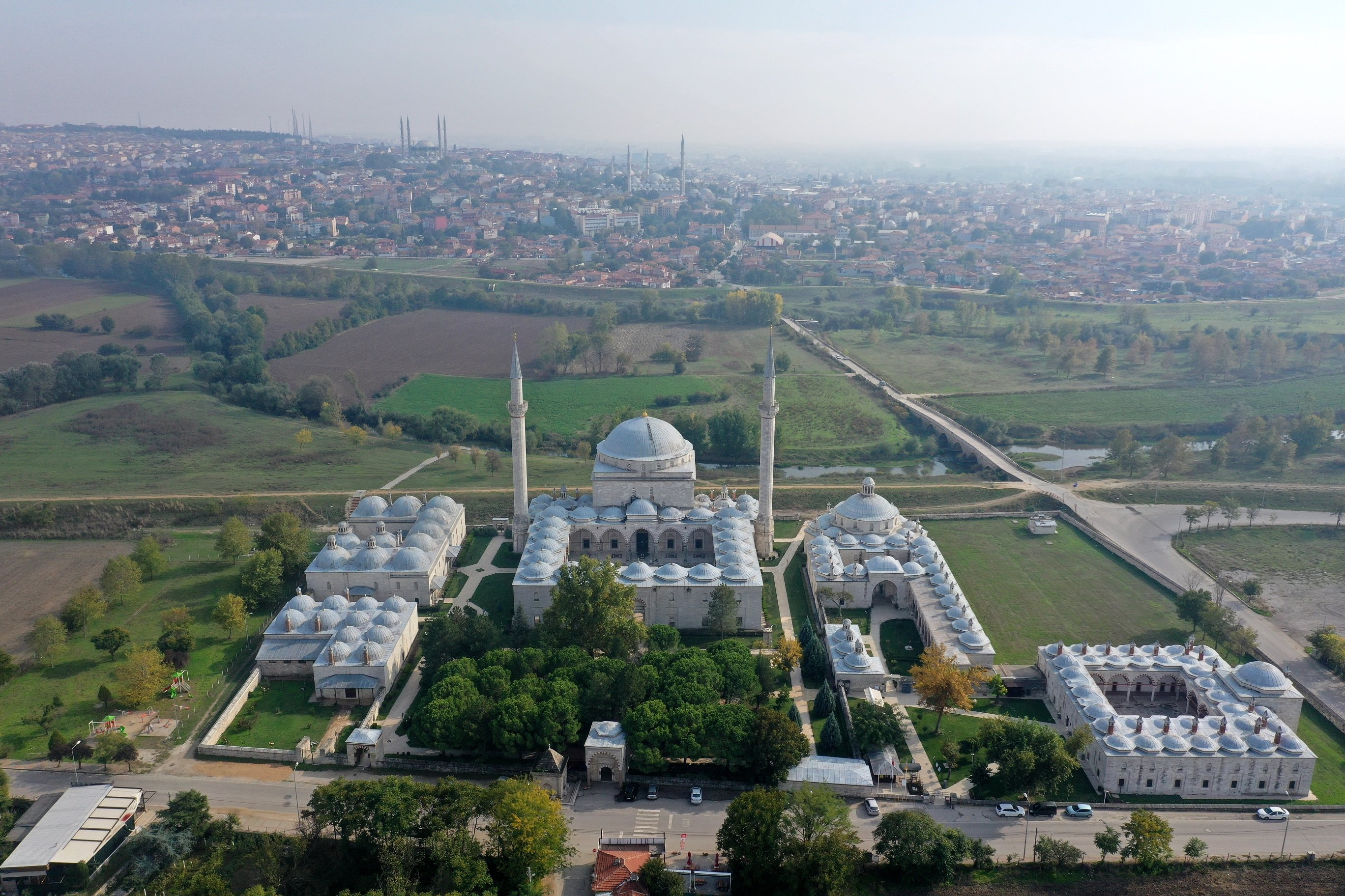 An aeriel view from the Sultan Bayezid II Complex, Edirne, northwestern Turkey, Nov. 1, 2020. (AA PHOTO)