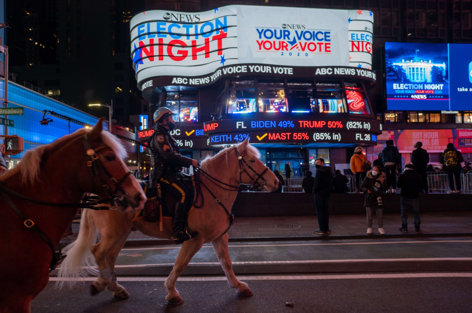People gather in Times Square as they await election results on November 3, 2020 in New York City. (AFP Photo)