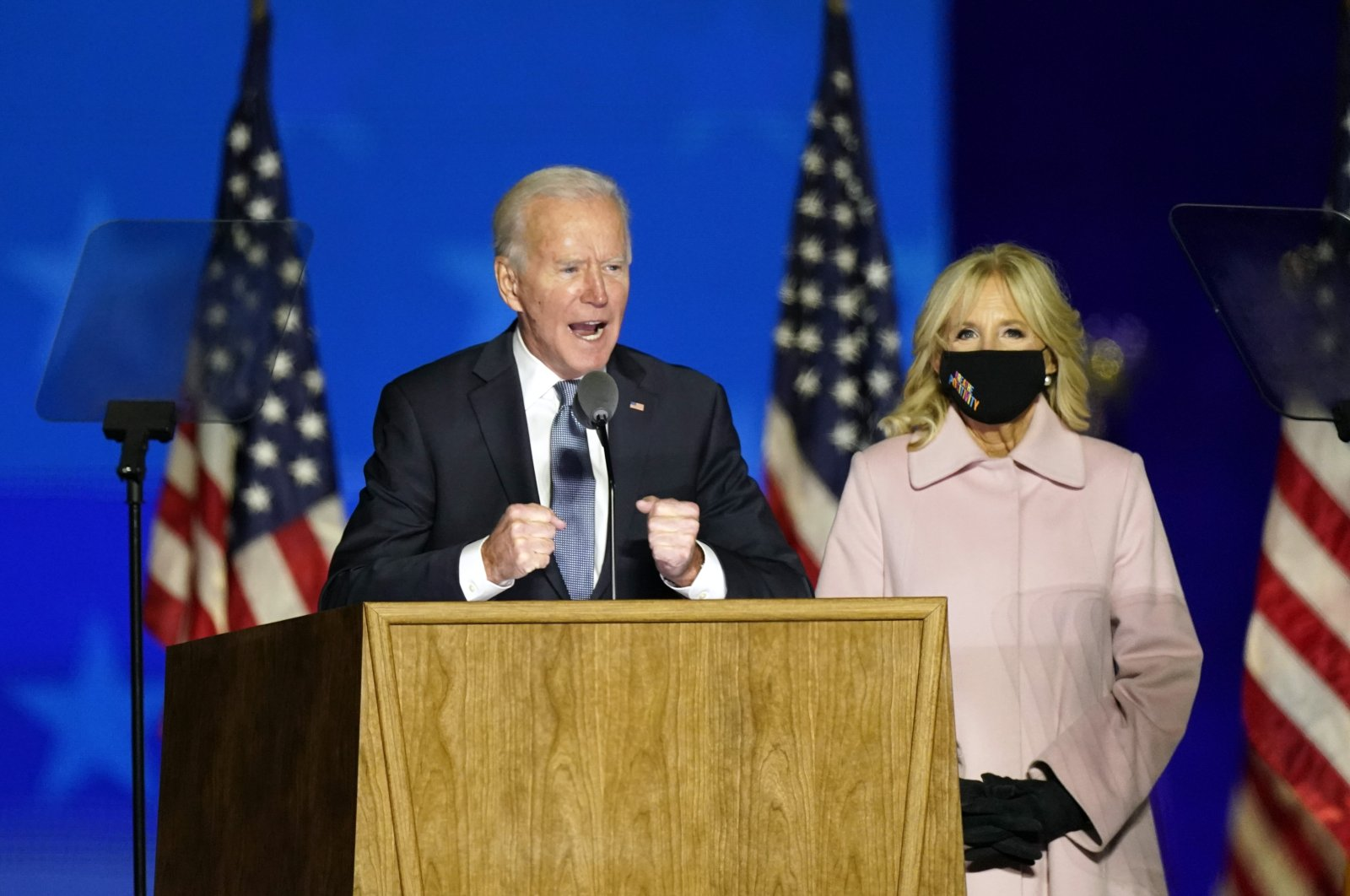 Democratic presidential candidate former Vice President Joe Biden speaks to supporters Wednesday, Nov. 4, 2020, in Wilmington, Del., as he stands next to his wife Jill Biden. (AP Photo)