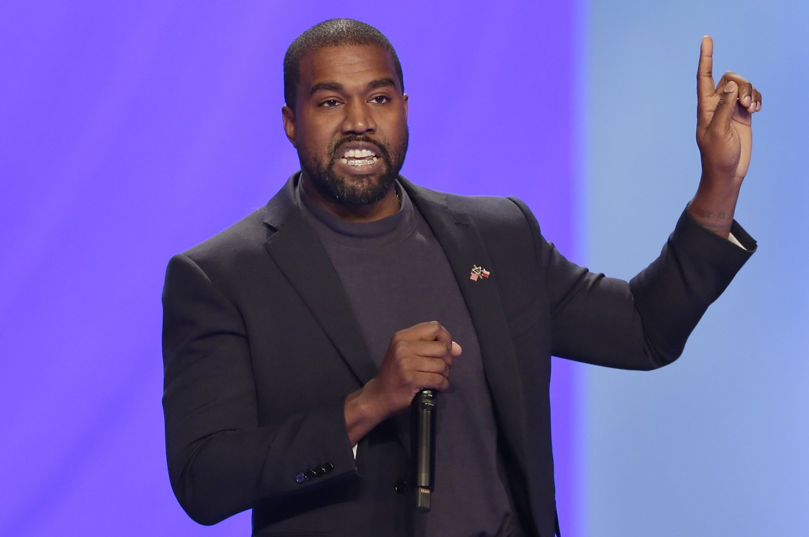 In this Nov. 17, 2019, file photo, Kanye West answers questions during a service at Lakewood Church, in Houston, Texas. (AP Photo)