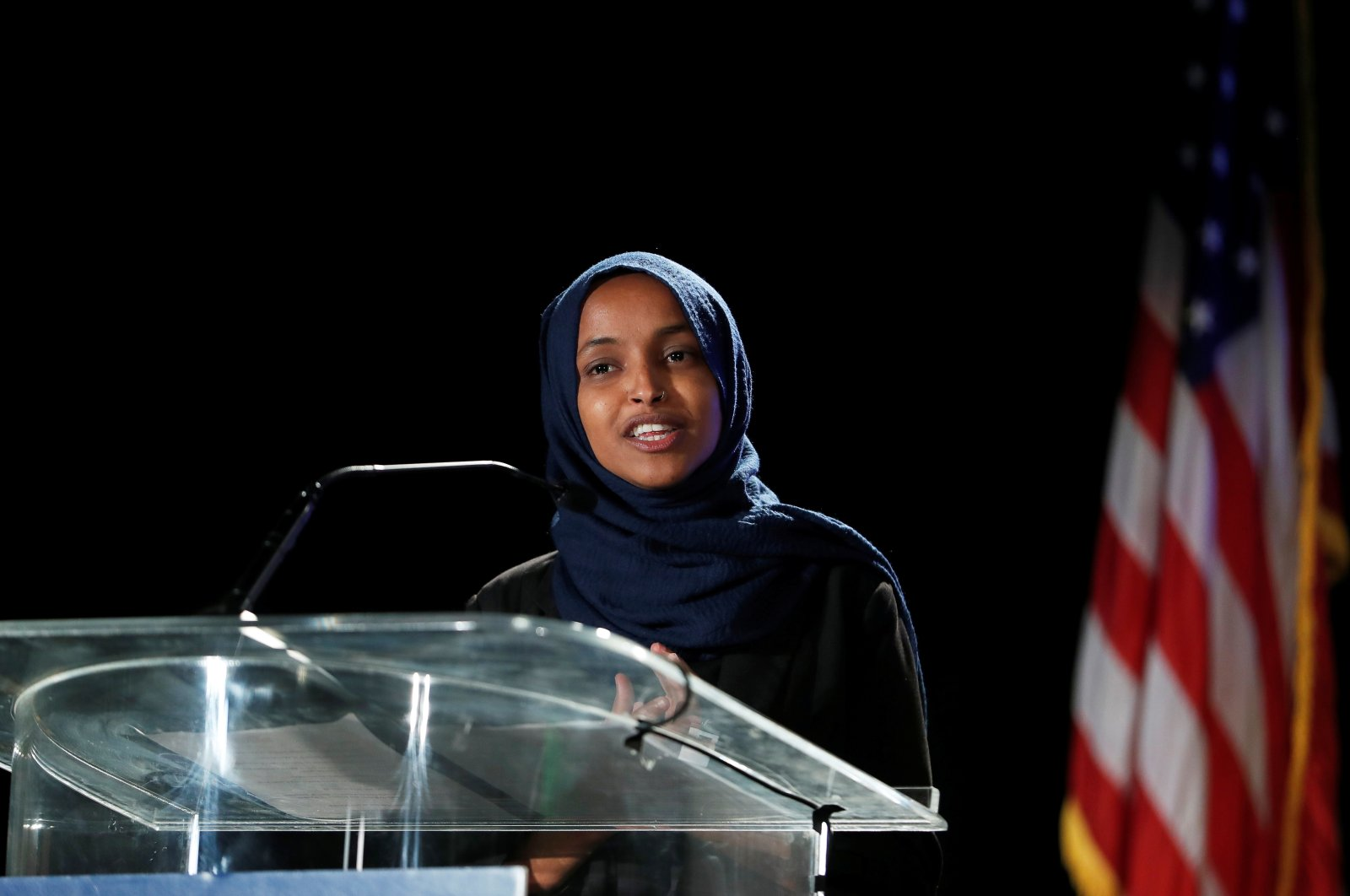 Democratic incumbent Rep. Ilhan Omar speaks at the DFL election night watch party, St. Paul, Minnesota, U.S., Nov. 3, 2020. (REUTERS Photo)