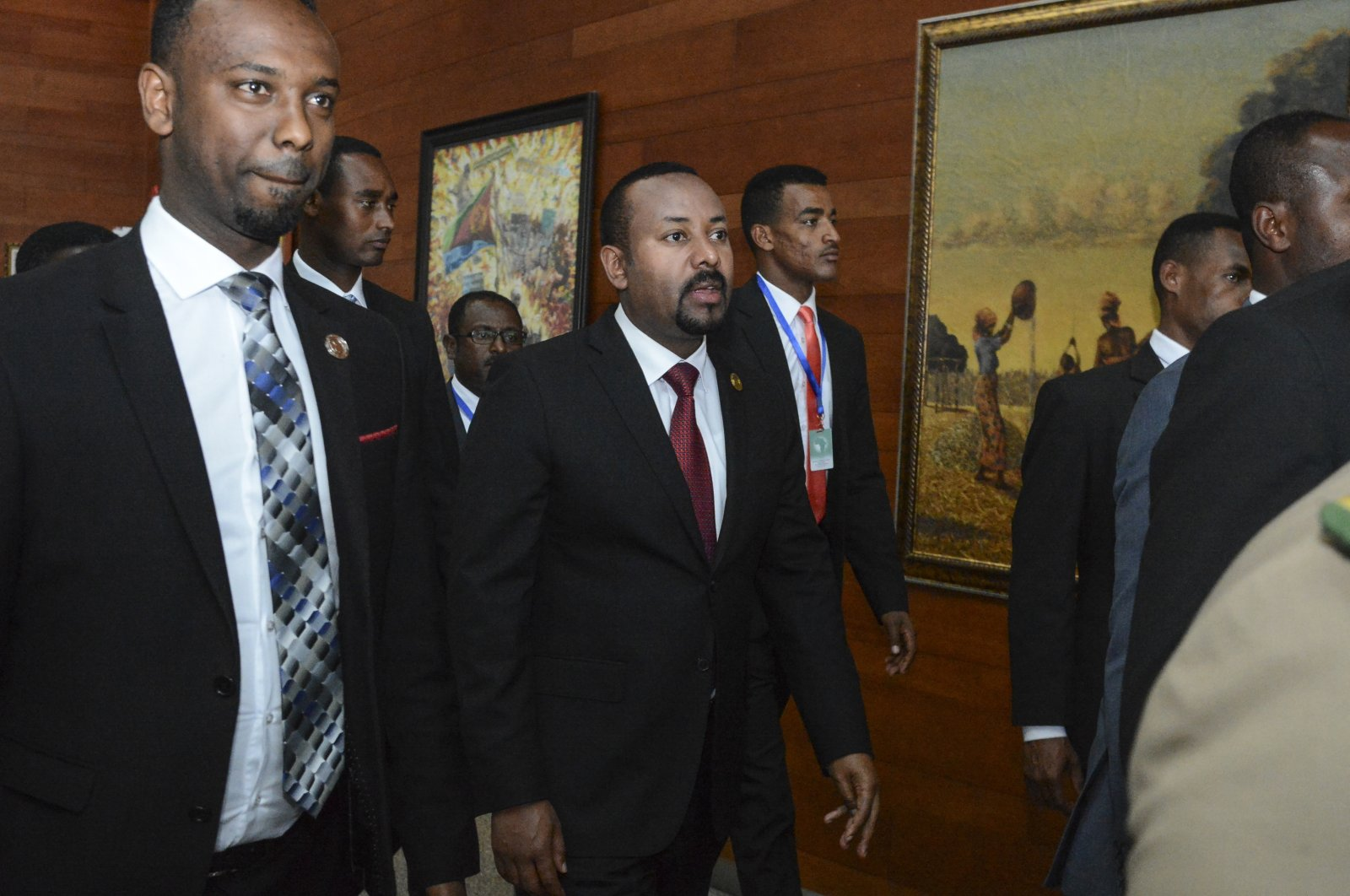 Ethiopian Prime Minister Abiy Ahmed (C) arrives for the opening session of the 33rd African Union (AU) Summit at the AU headquarters in Addis Ababa, Ethiopia, Feb. 9, 2020. (AP Photo)