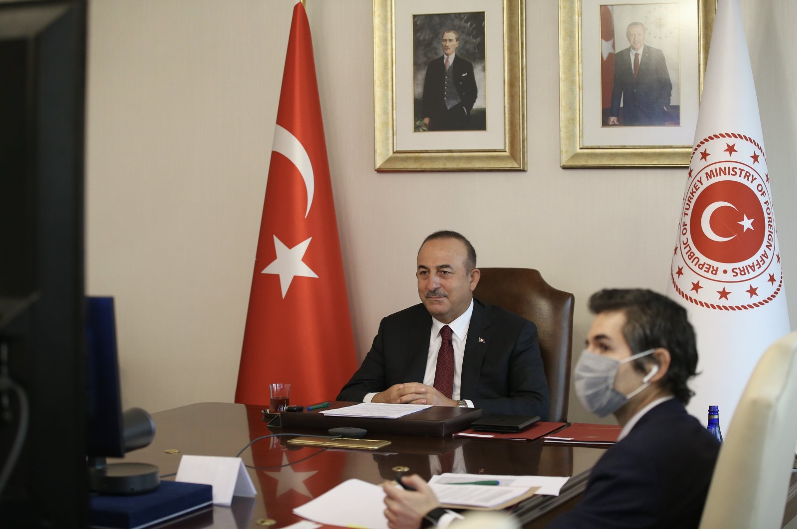 Foreign Minister Mevlüt Çavuşoğlu attends the 130th Session of the Committee of Ministers of the Council of Europe via videoconference, Ankara, Turkey, Nov. 4, 2020. (AA Photo)