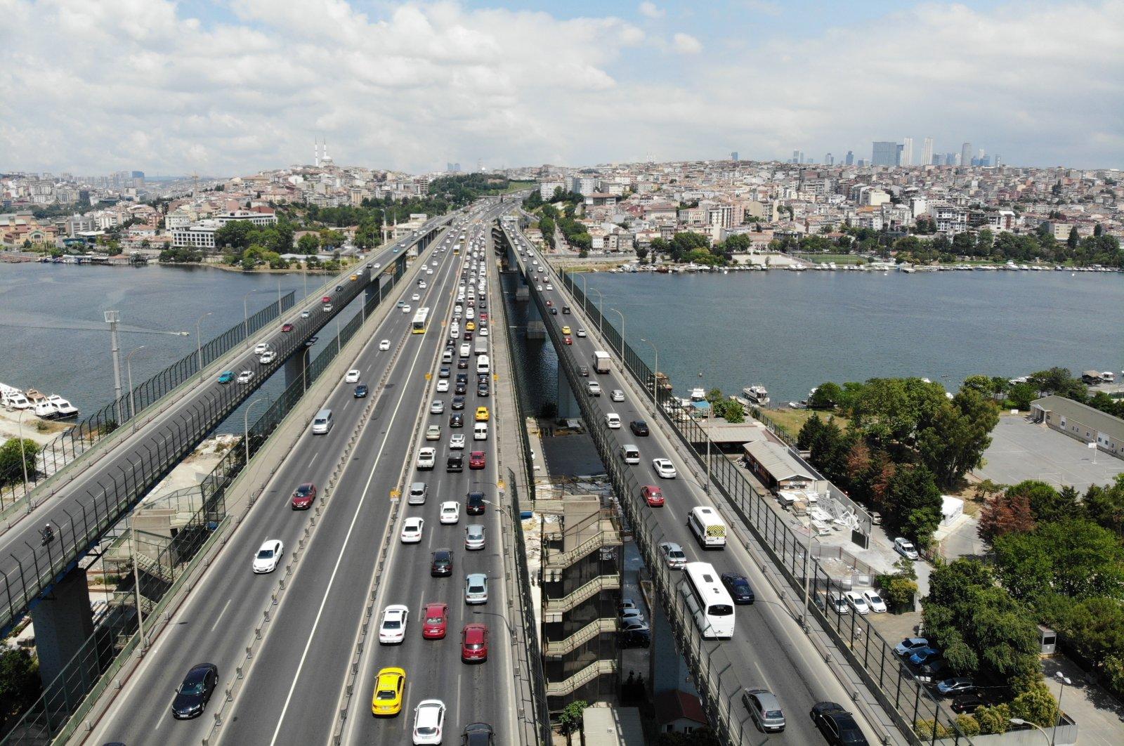 Cars are seen on the Haliç Bridge in Istanbul, Turkey, July 19, 2020. (IHA Photo)