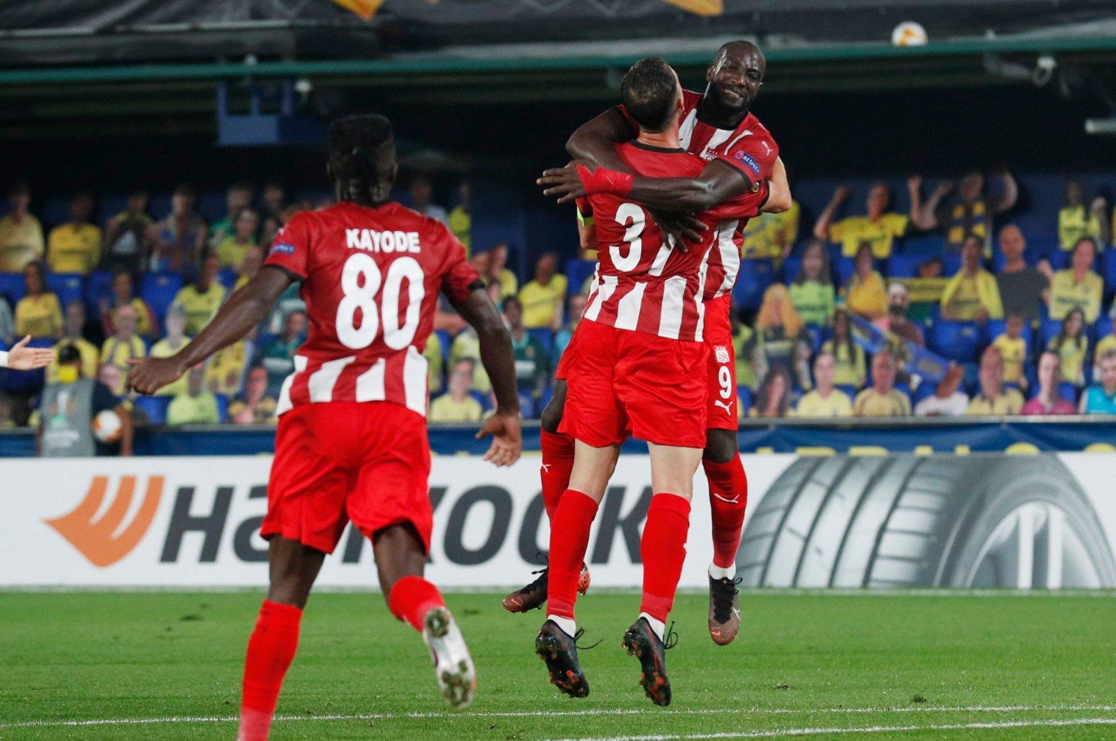 Sivasspor players celebrate a goal against Villarreal during a UEFA Europa League match, in Villarreal, Spain, Oct. 22, 2020. (Reuters Photo)