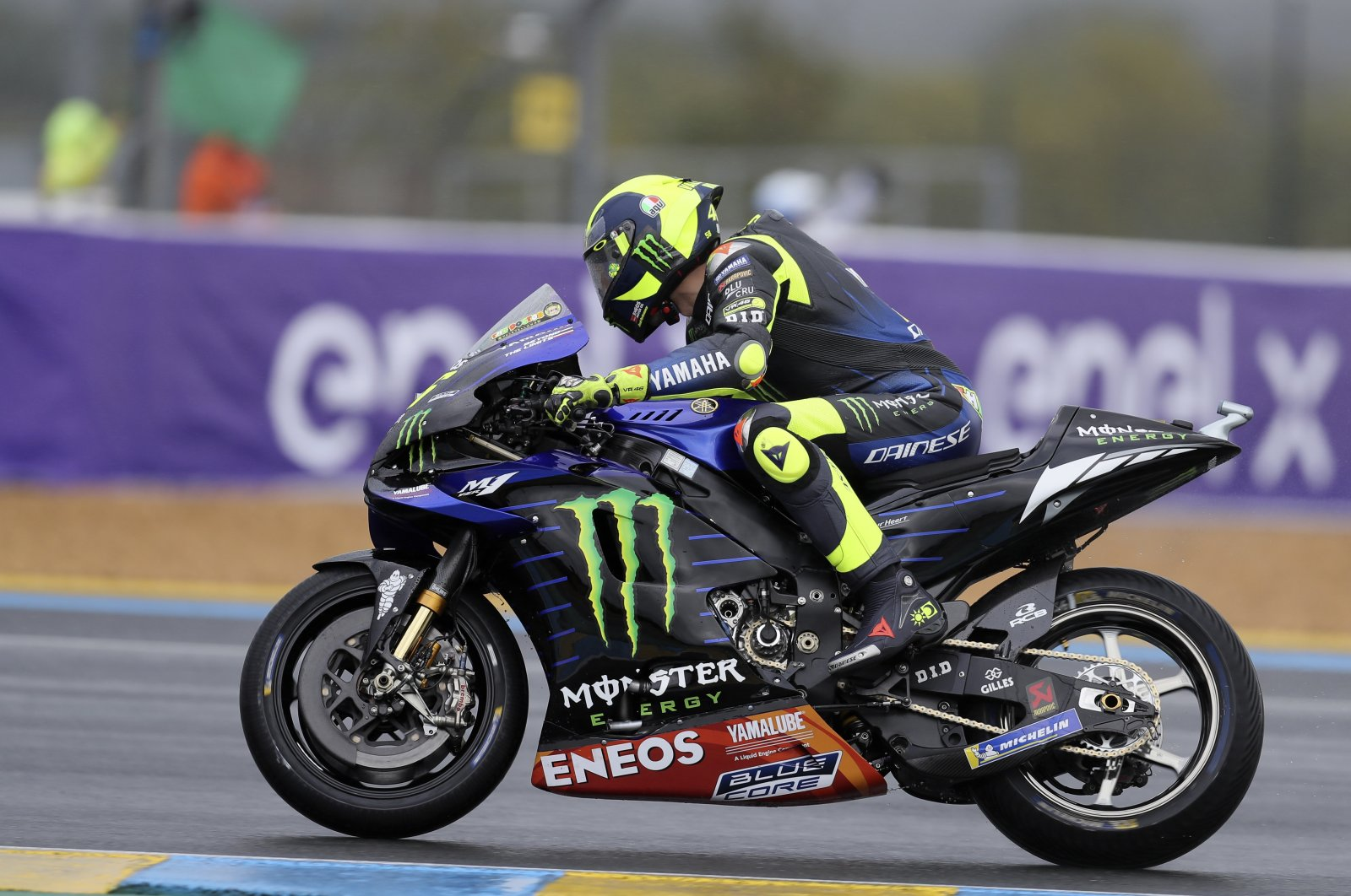 Valentino Rossi in action during the French GP, his last race before testing positive for COVID-19, in Le Mans, France, Oct. 11, 2020.
