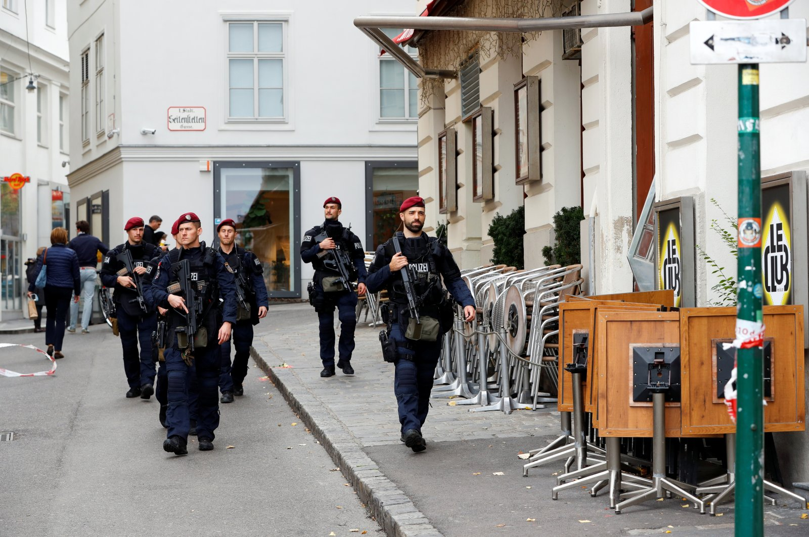 Armed police officers patrol near the site of a Daesh terrorist attack in Vienna, Austria, Nov. 4, 2020. REUTERS