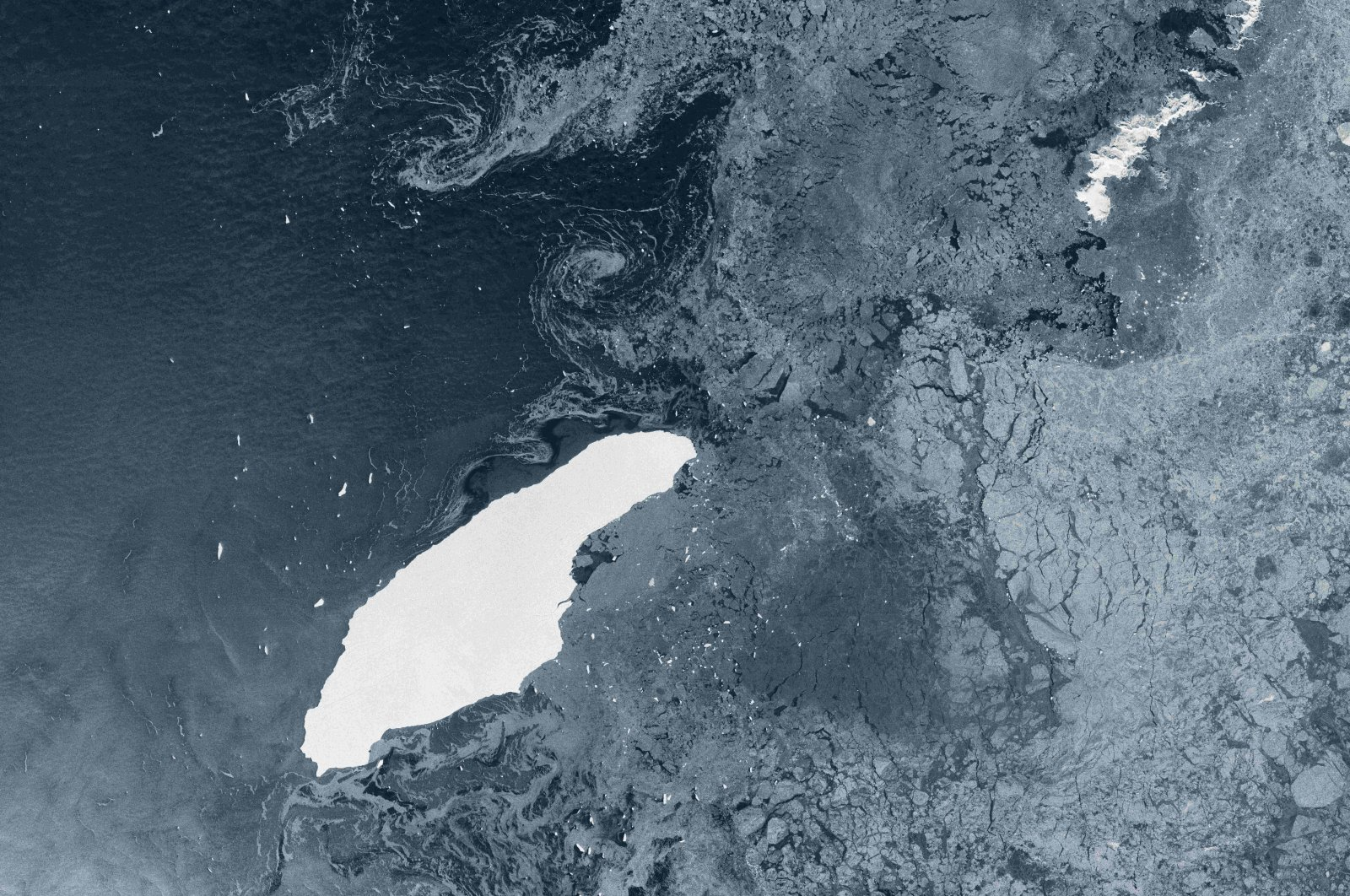 An image captured by the Copernicus Sentinel-1 radar mission on July 5, 2020, shows the parent berg, A-68A, which is about twice the size of Luxemburg and one of the largest icebergs on record. (Handout Photo by the European Space Agency / AFP)