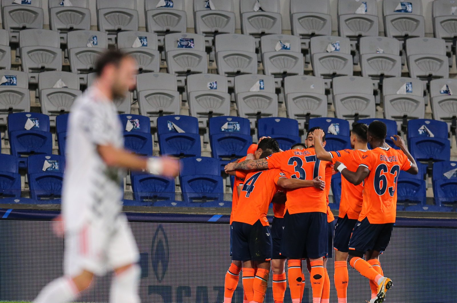 Istanbul Başakşehir players cheer after a goal in Istanbul Fatih Terim Stadium, Nov. 4, 2020. (AA Photo)