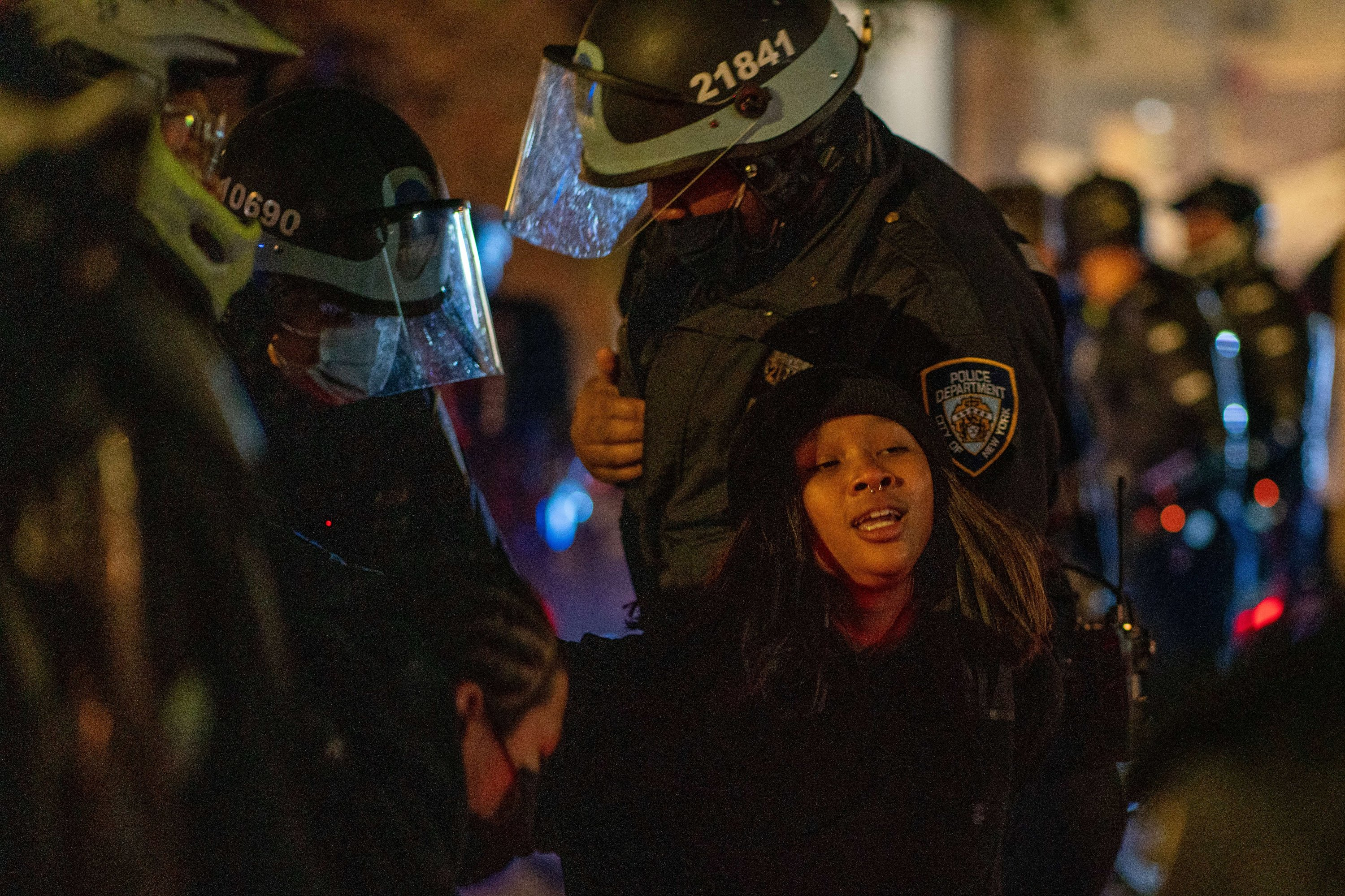 Protestors are arrested while taking to the streets, New York City, U.S., Nov. 4, 2020. (AFP Photo)