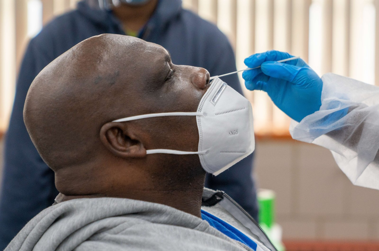 A man is administered a COVID-19 test, in New York, Oct. 30, 2020. (Getty Images via AFP)