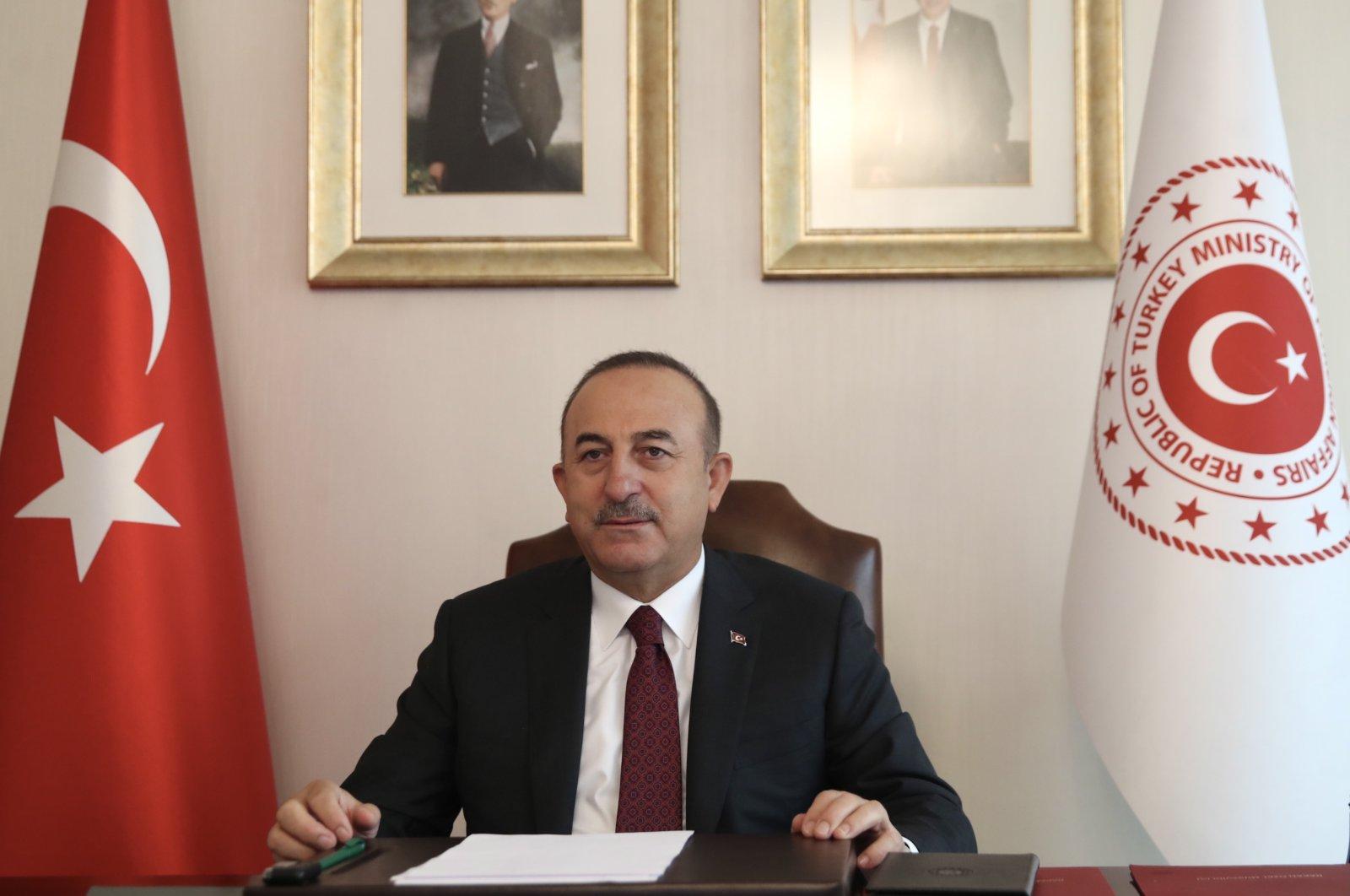 Foreign Minister Mevlüt Çavuşoğlu attends the 130th EU Council foreign ministers' meeting in Ankara, Turkey, Nov. 4, 2020. (AA Photo)