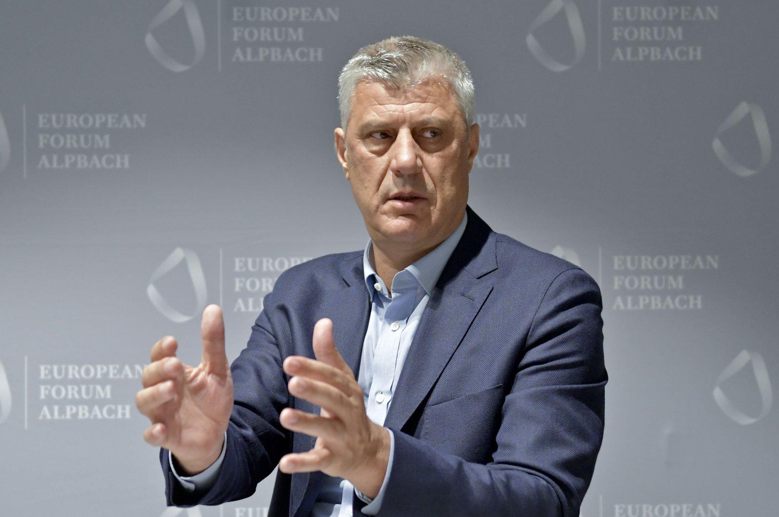 Kosovo's President Hashim Thaci gestures during an interview at the European Forum Alpbach 2018 on Aug. 26, 2018, in Alpbach, Austria. (AFP Photo)