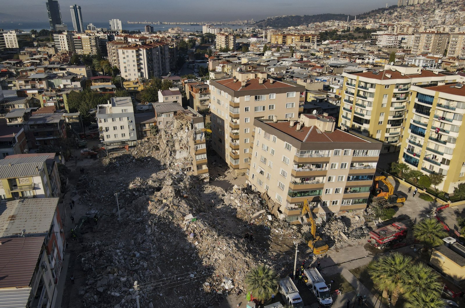 A view of the buildings that collapsed in the earthquake, in Izmir, western Turkey, Nov. 3, 2020. (AP Photo)