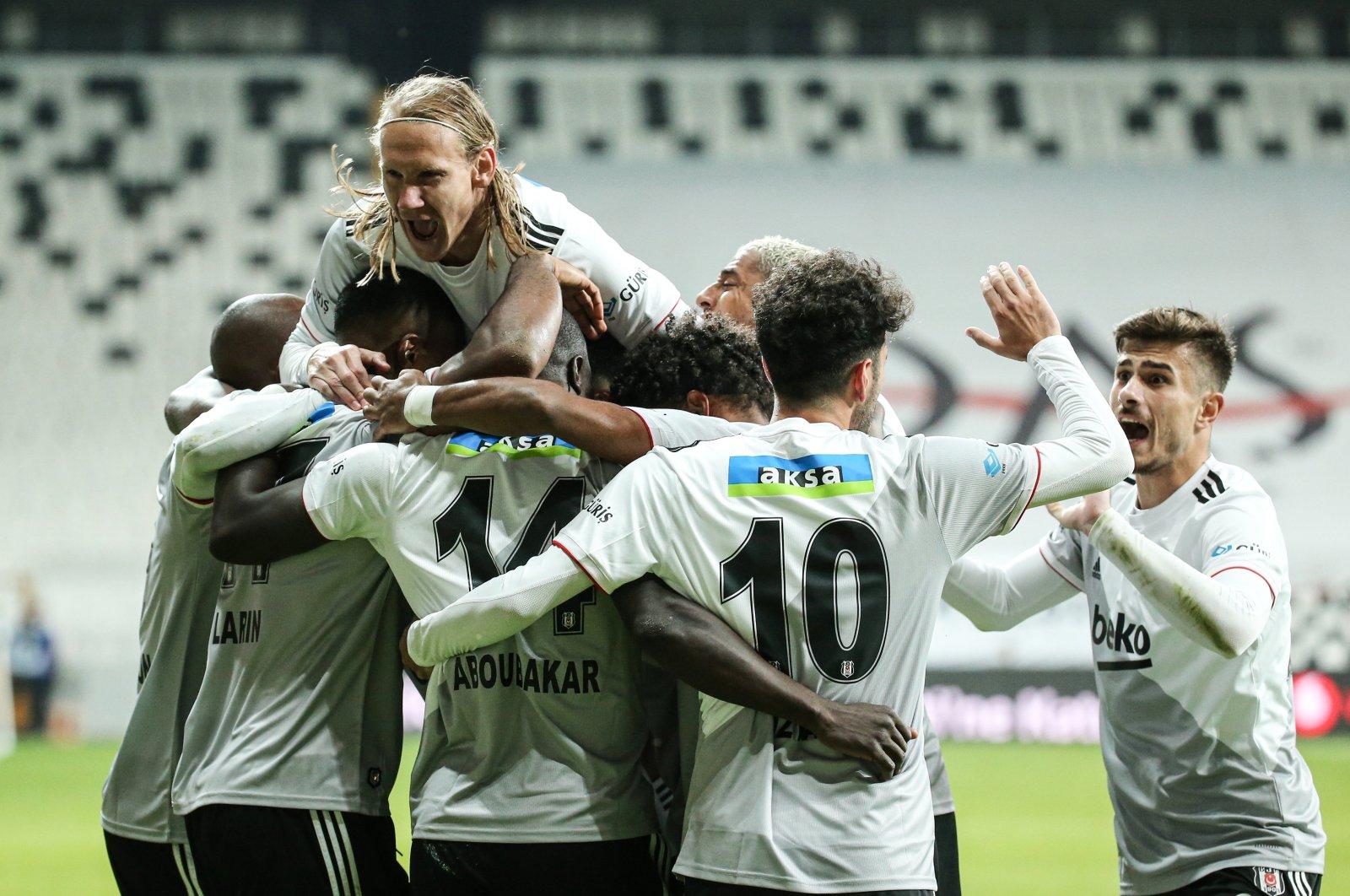 Beşiktaş players celebrate a goal during a Süper Lig match against Malatyaspor, in Istanbul, Turkey, Nov. 2, 2020. (AA Photo)