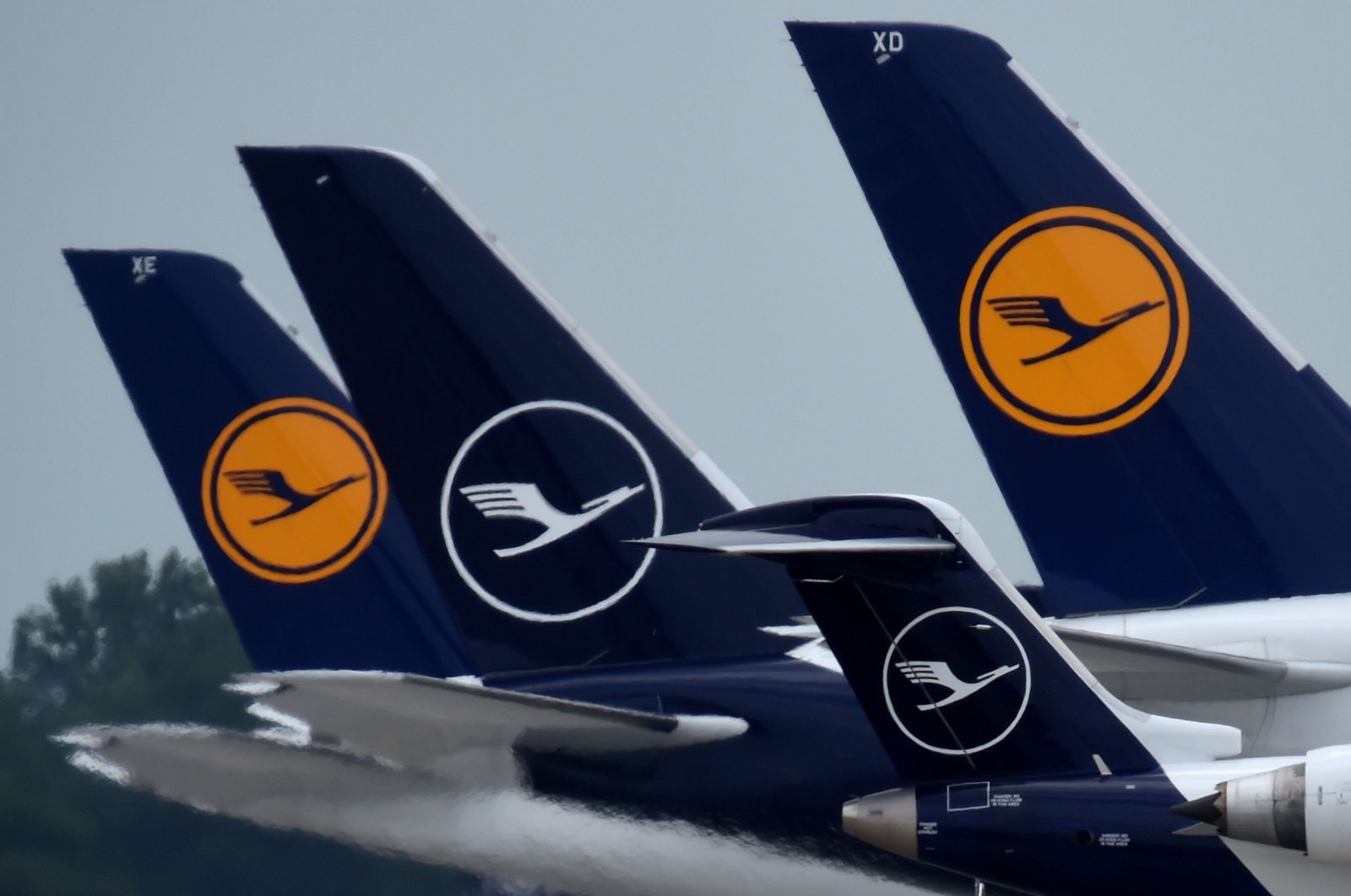 """Aircrafts of German airline Lufthansa at """"Franz-Josef-Strauss"""" airport in Munich, southern Germany, June 25, 2020. (AFP Photo)"""