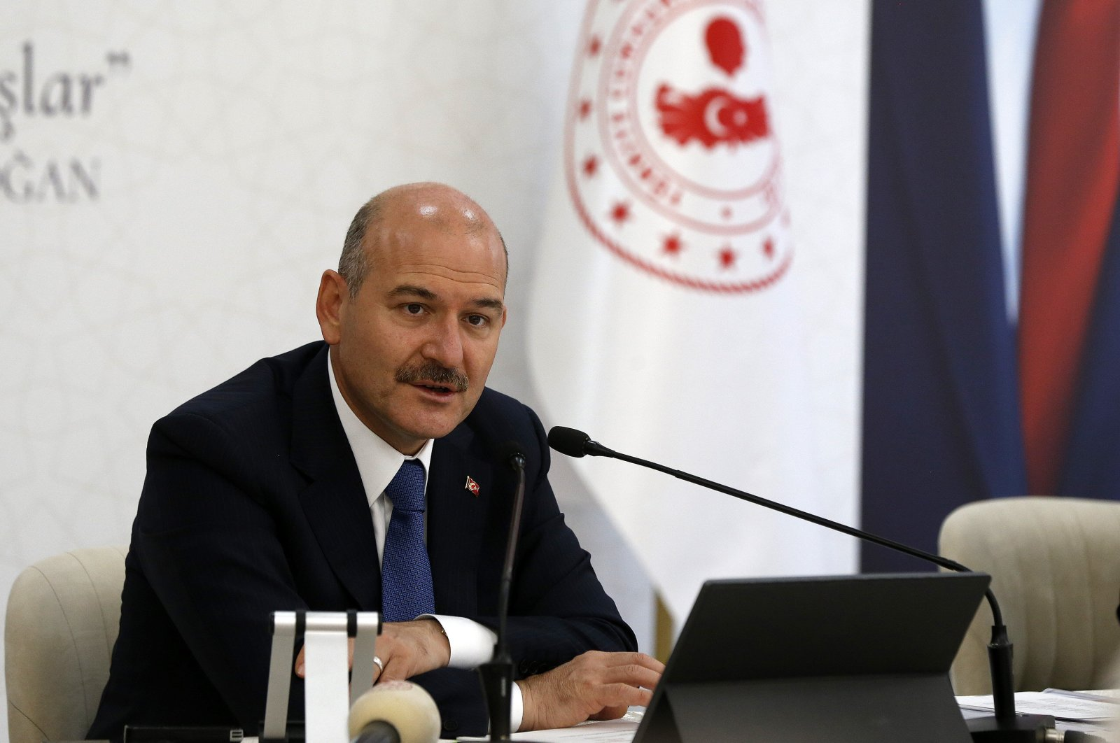 Interior Minister Süleyman Soylu speaks at an event in Ankara, Turkey, Oct. 20, 2020. (AA Photo)