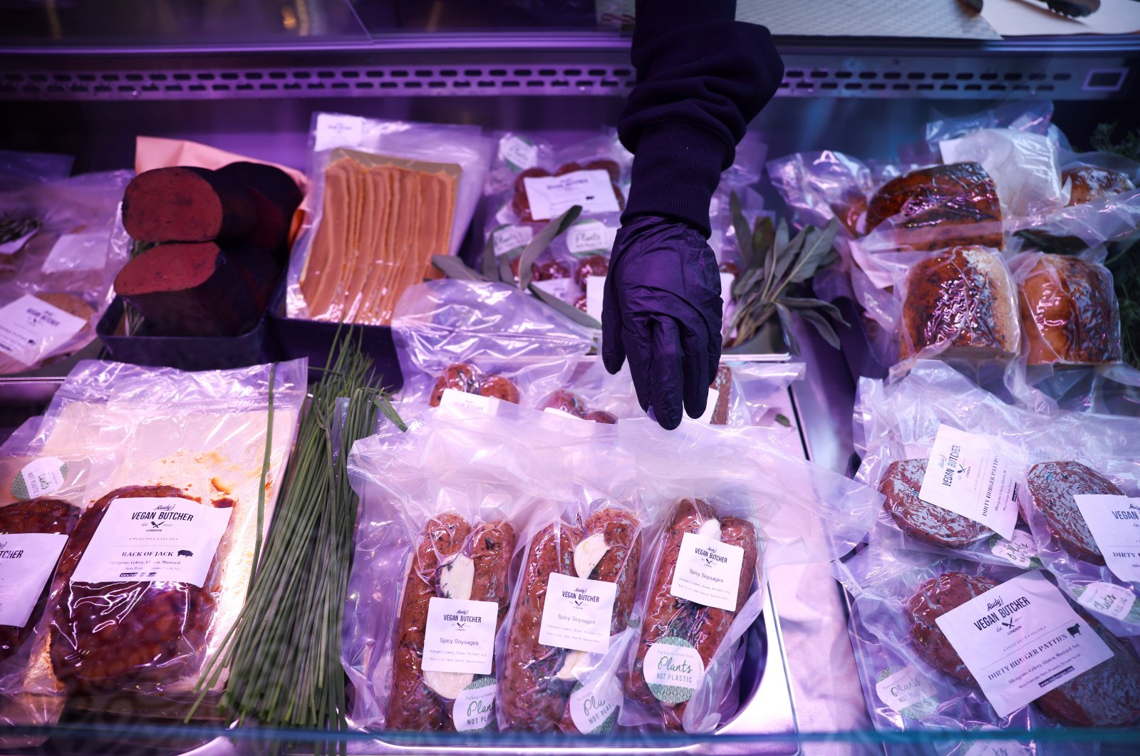 """Food products are seen on display inside """"Rudy's Vegan Butcher"""" shop, amid the coronavirus outbreak, in London, Britain, Oct. 30, 2020. (Reuters Photo)"""