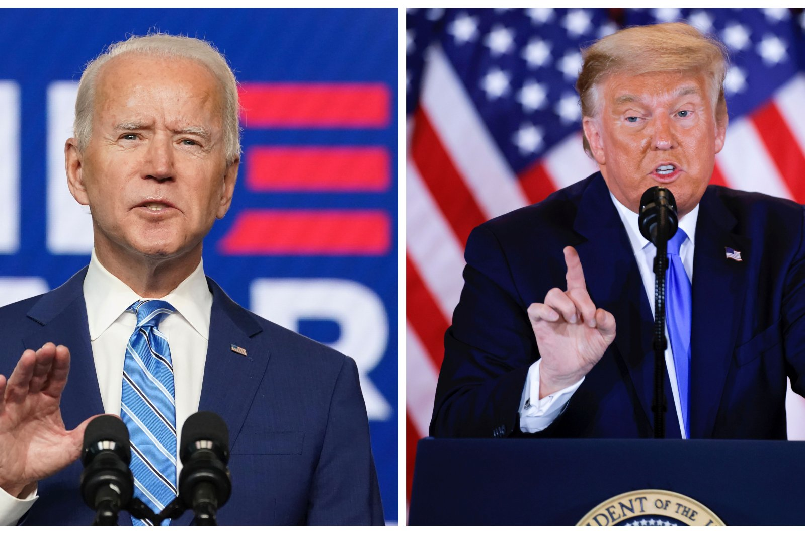 Combination picture of Democratic U.S. presidential nominee Joe Biden (L) and U.S. President Donald Trump speaking about the early results of the 2020 U.S. presidential election, Nov. 4, 2020. (Reuters Photo)