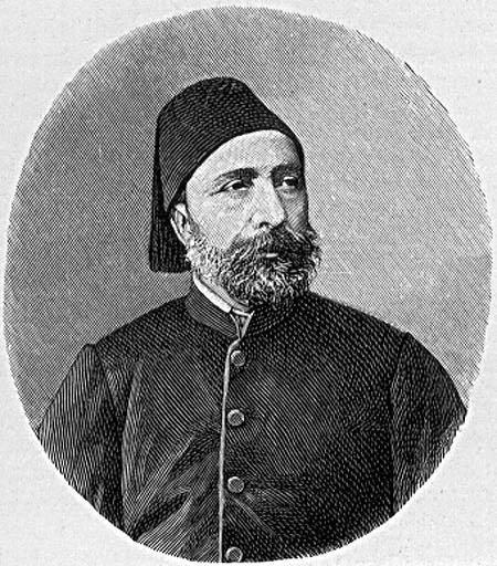 A sketch showing a middle-aged Midhat Pasha.