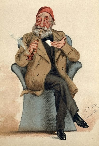 A caricature of Midhat Pasha drawn by British portrait artist and caricaturist Sir Leslie Matthew Ward, whose works were published under the pseudonym 'Spy' on the cover of British weekly magazine Vanity Fair on June, 30, 1877.