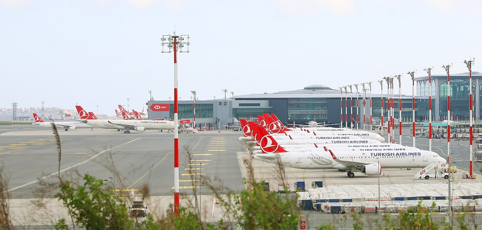 Turkish Airline planes sit on the tarmac at Istanbul Airport during the coronavirus outbreak, Istanbul, Turkey, May 24, 2020. (AA Photo)