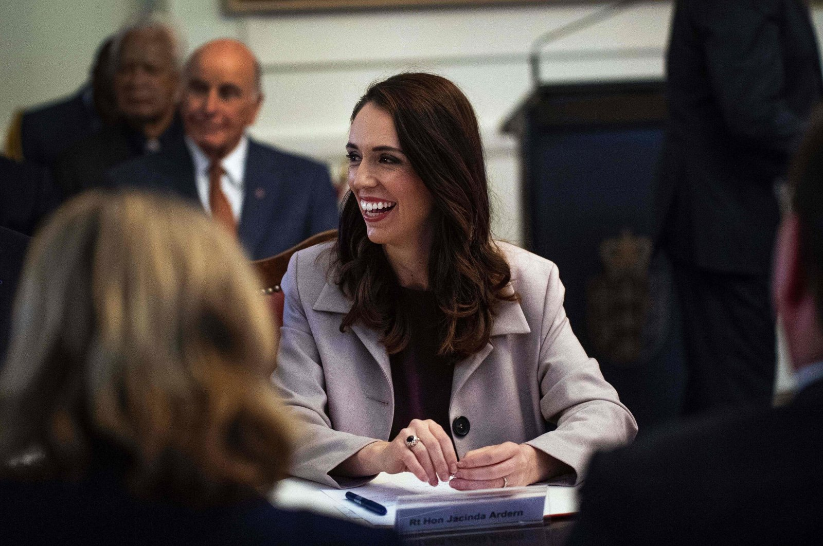 New Zealand's Prime Minister Jacinda Ardern smiles during a Cabinet meeting at the Parliament House in Wellington, Nov. 6, 2020. (AFP Photo)