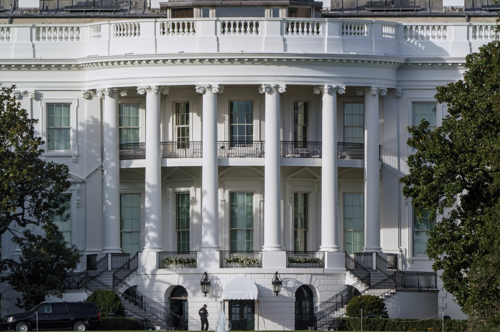 The South Portico of the White House is seen from Constitution Avenue two days after Election Day, Washington, D.C., Nov. 5, 2020. (AP Photo)