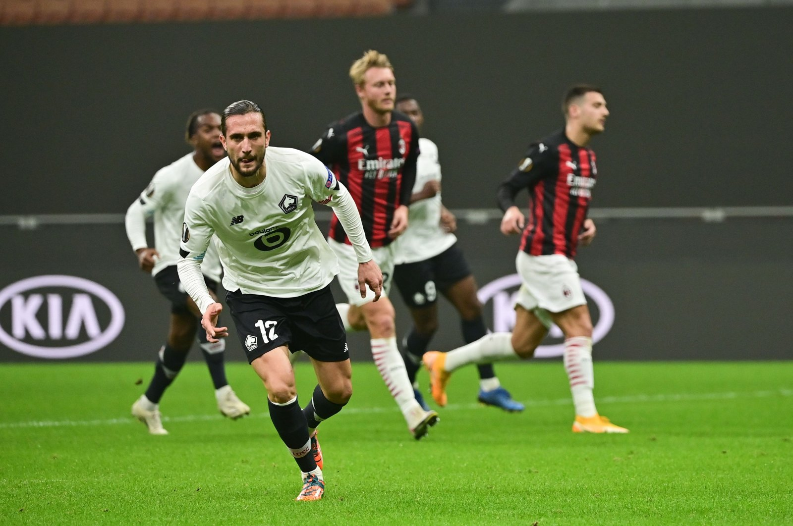 Lille's Yusuf Yazıcı celebrates a goal against AC Milan during the UEFA Europa League match, in Milan, Italy, Nov. 5, 2020. (AFP Photo)