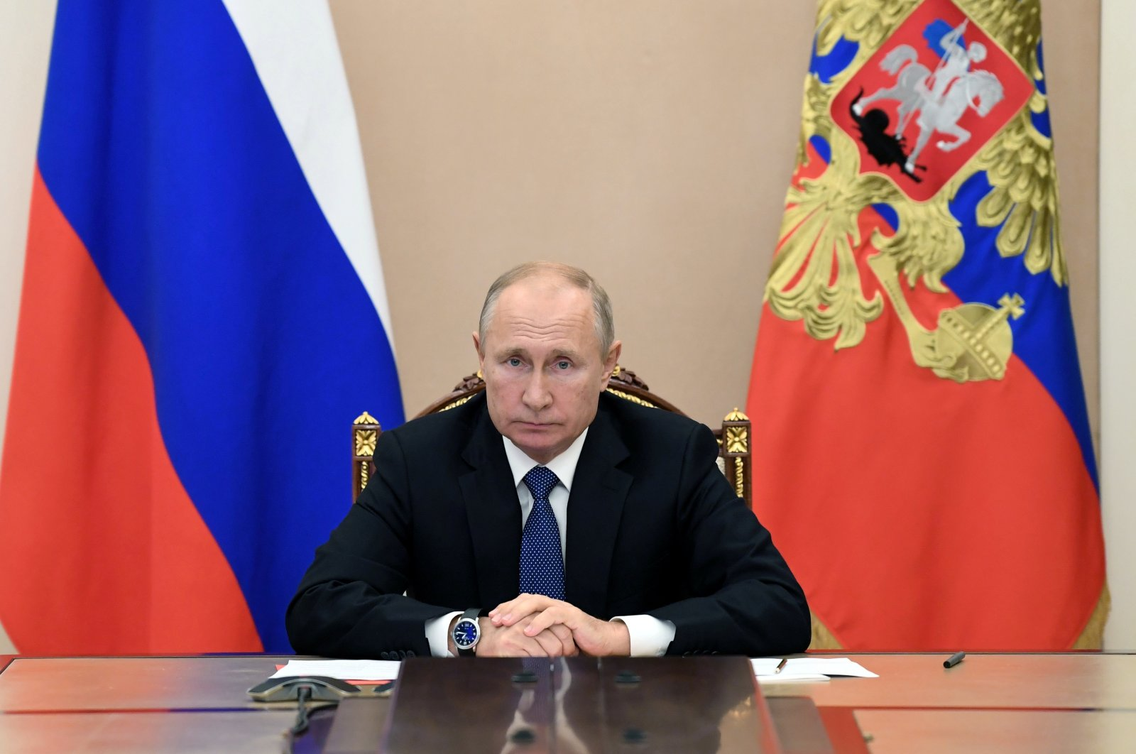 Russian President Vladimir Putin takes part in a video conference call with members of the Security Council in Moscow, Russia, Nov. 6, 2020. (Reuters Photo)