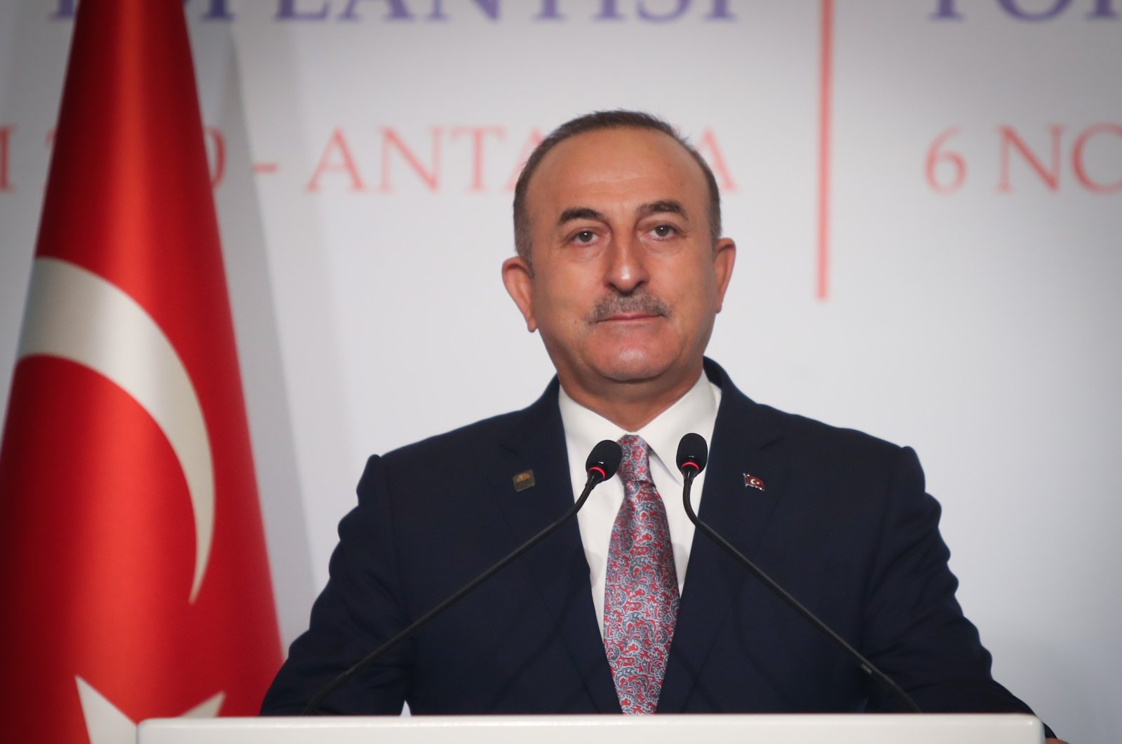 Foreign Minister Mevlüt Çavuşoğlu speaks at the opening of the informal meeting of the South-East European Cooperation Process (SEECP) in Turkey's Mediterranean province of Antalya, Nov. 6, 2020. (AA)
