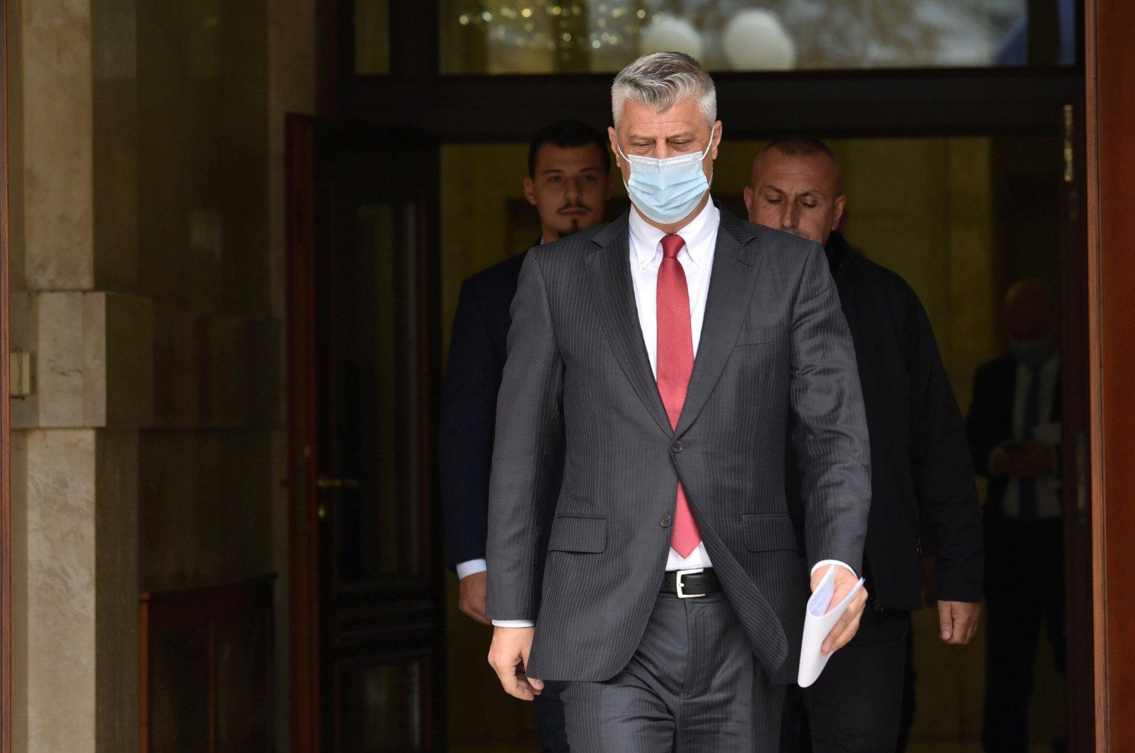 Kosovo's former President Hashim Thaci arrives for a news conference, Pristina, Kosovo, Nov. 5, 2020. (REUTERS Photo)